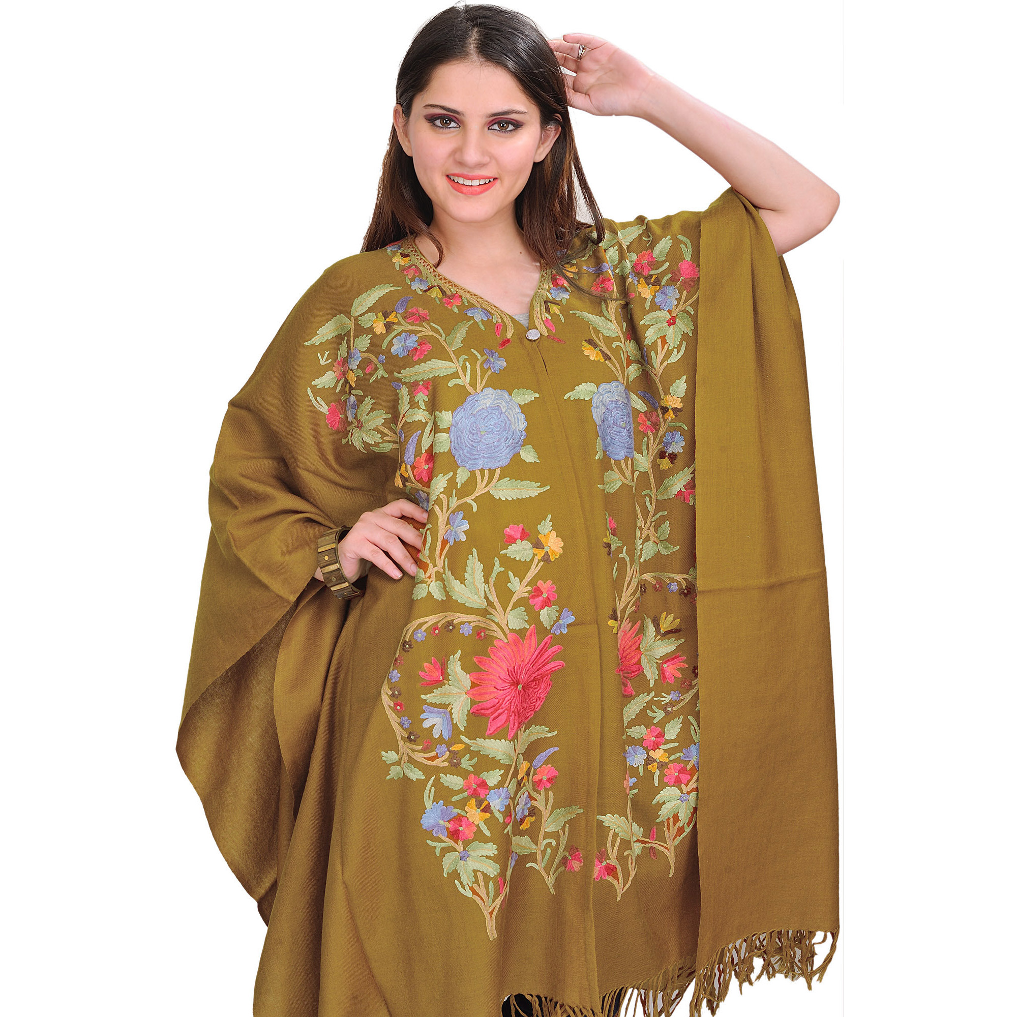Tapenade-Green Cape from Kashmir with Ari Embroidered Flowers by Hand