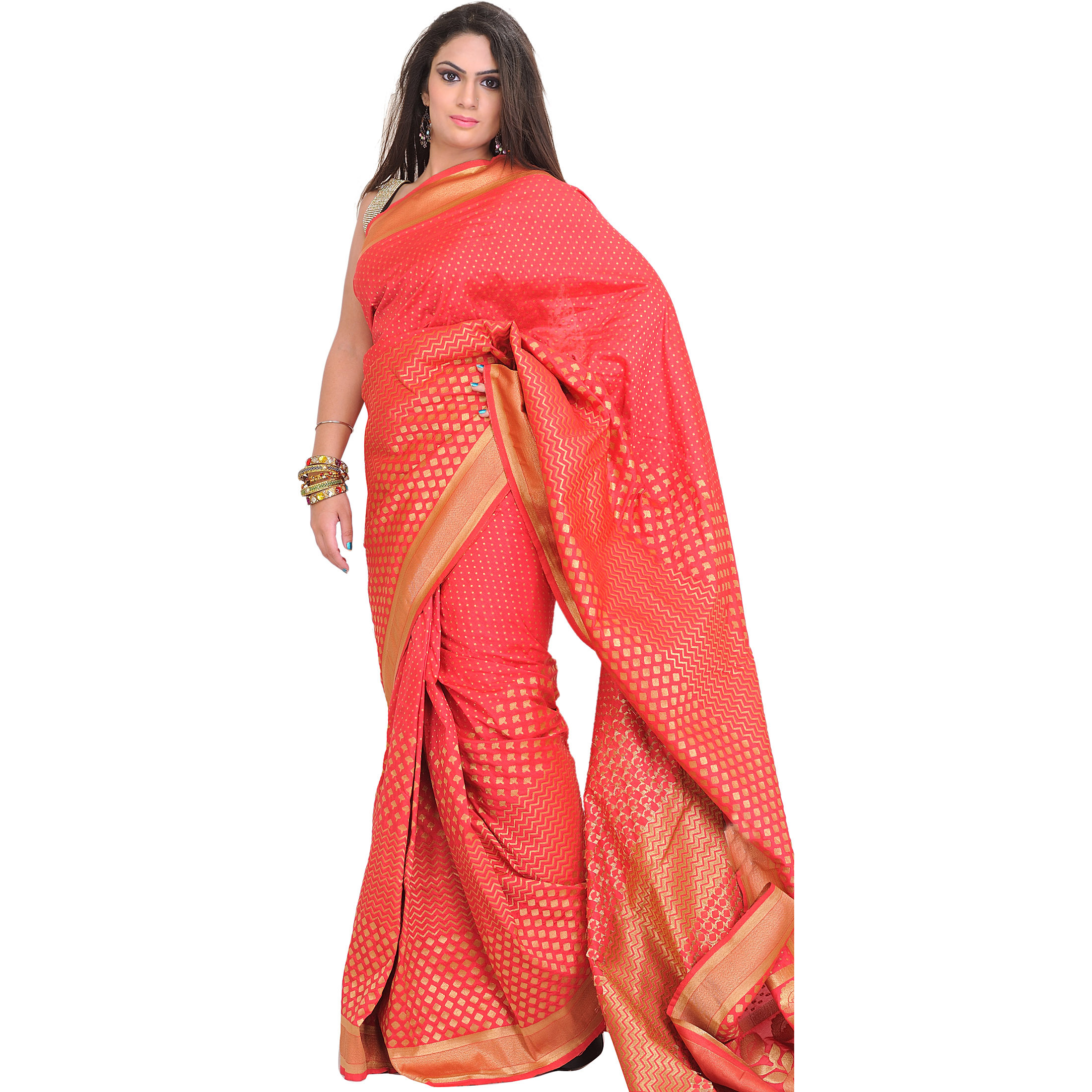 Rouge-Red Sari from Banaras with Woven Bootis in Zari Thread