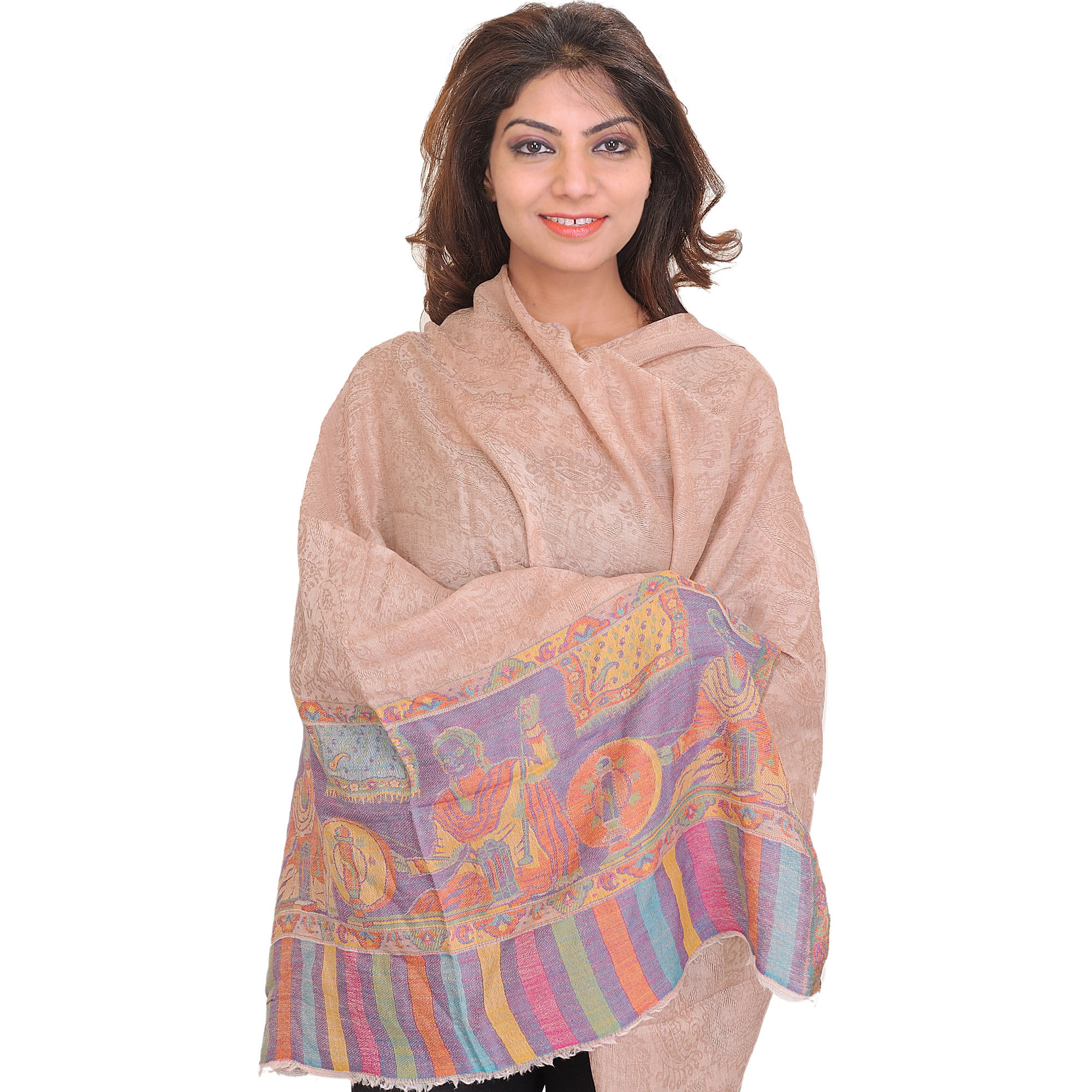 Moonlight Semi-Cashmere Kani Stole with Self-Weave Paisleys