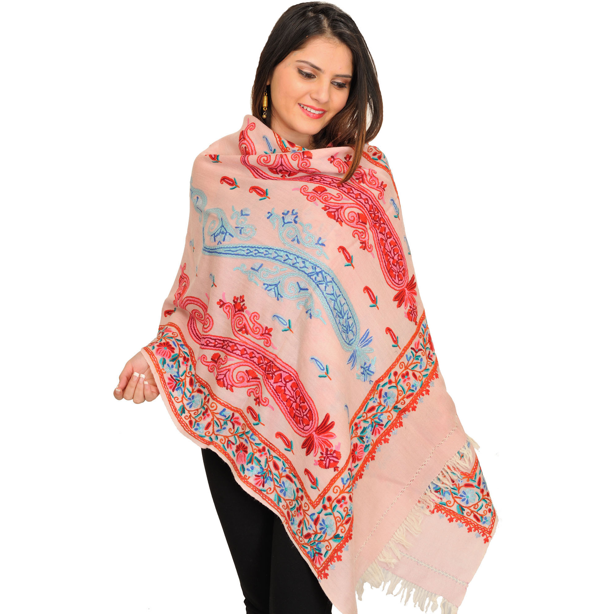 Lotus-Pink Stole from Kashmir with Ari Hand-Embroidered Paisleys