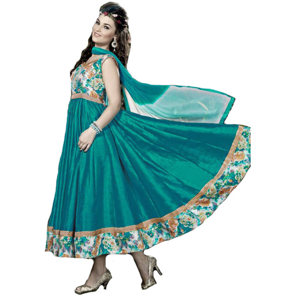 Viridian-Green Anarkali Suit with Printed Flowers and Gota Lace