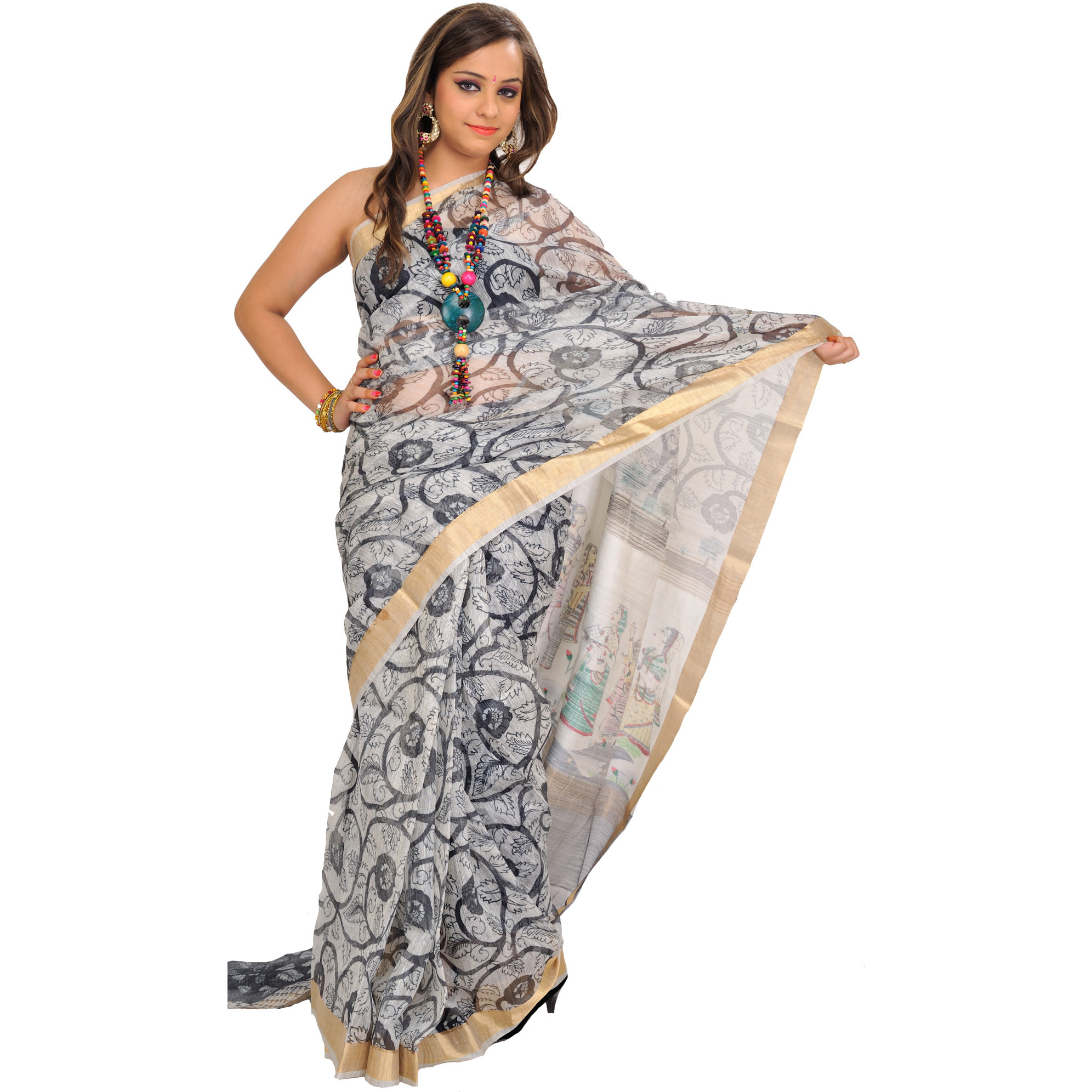 White and Black Digital-Printed Sari from Purvanchal with Krishna and Gopis on Aanchal