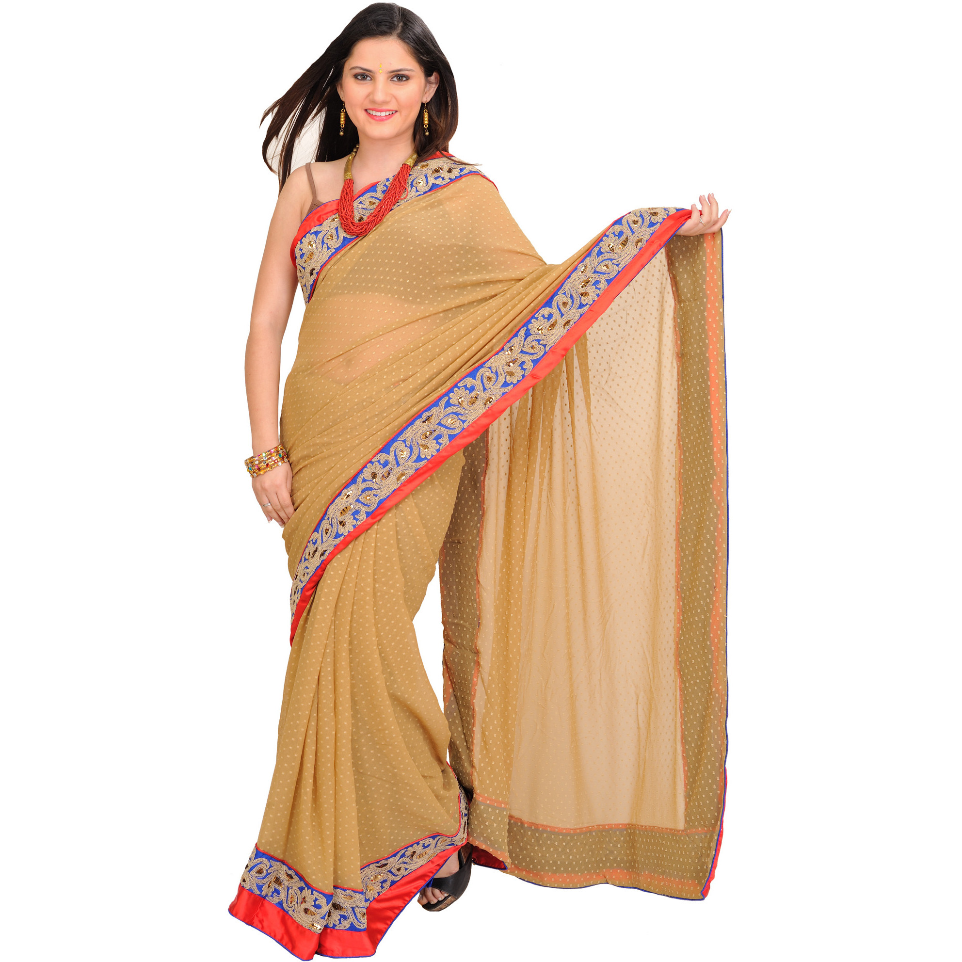 Warm-Sand Wedding Shimmer Sari with Woven Bootis and Embroidered Patch Border