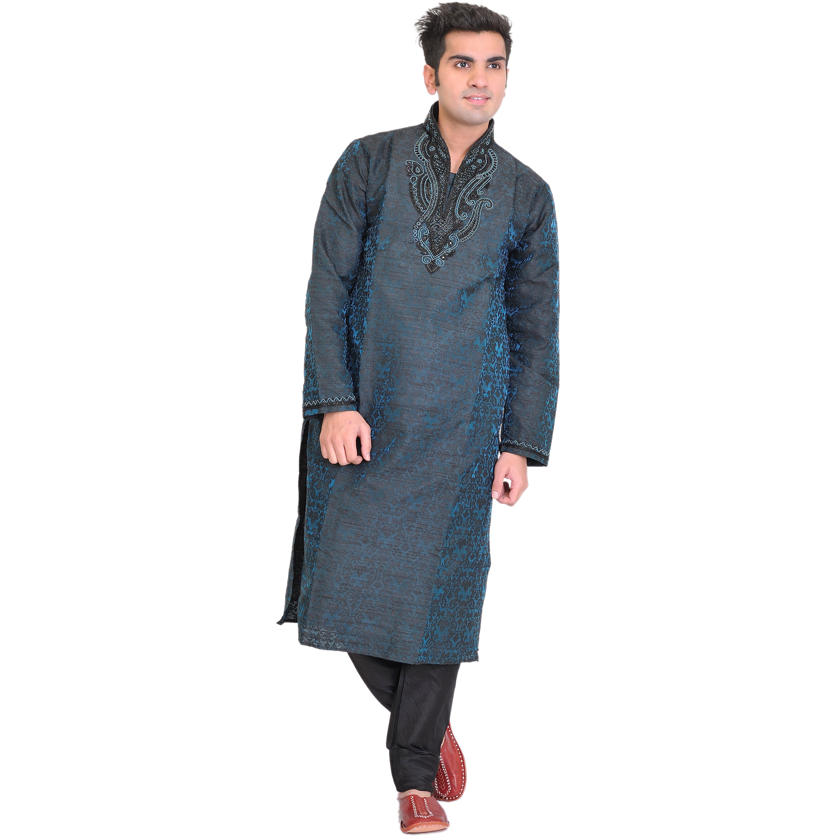 Coral-Blue Wedding Kurta Pajama Set with Embroidered Beads on Neck and Self-Weave