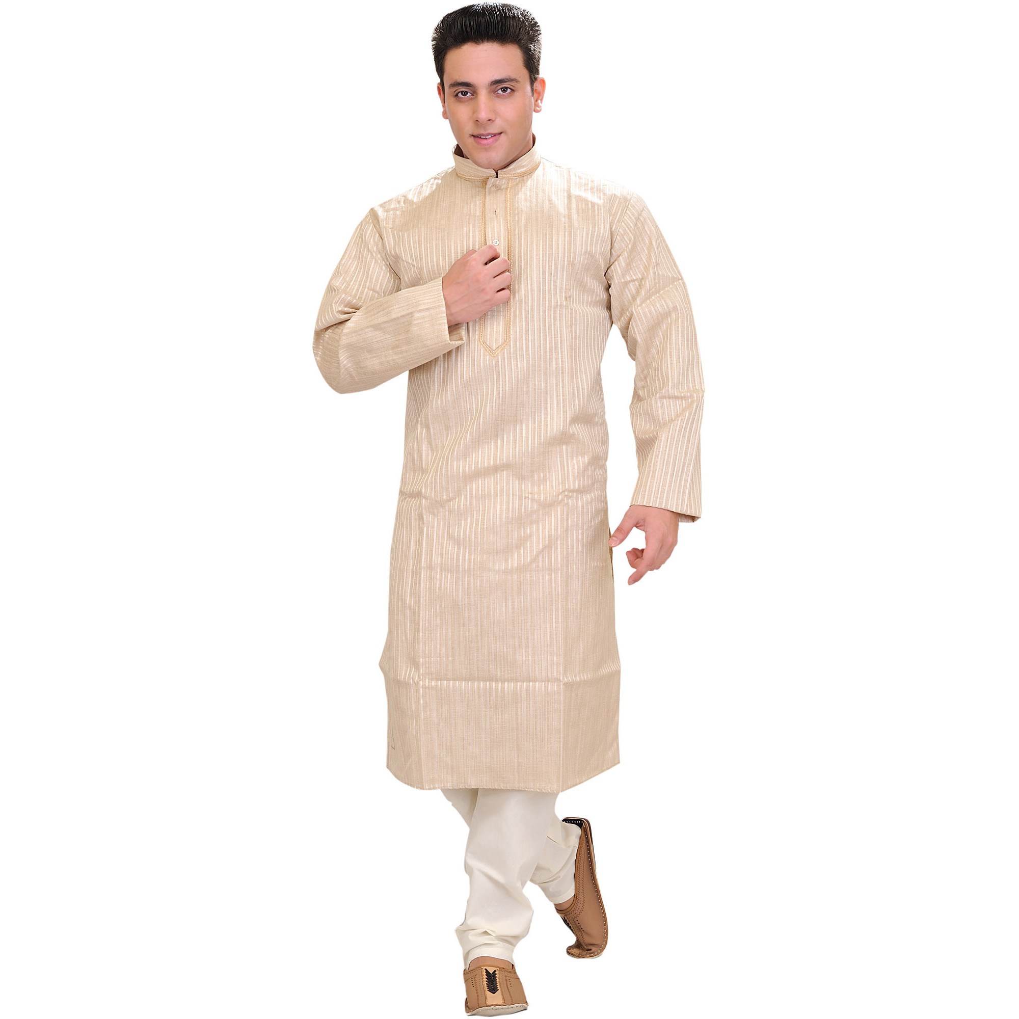 Sandshell Casual Kurta Pajama Set with Woven Stripes and Embroidery on Neck