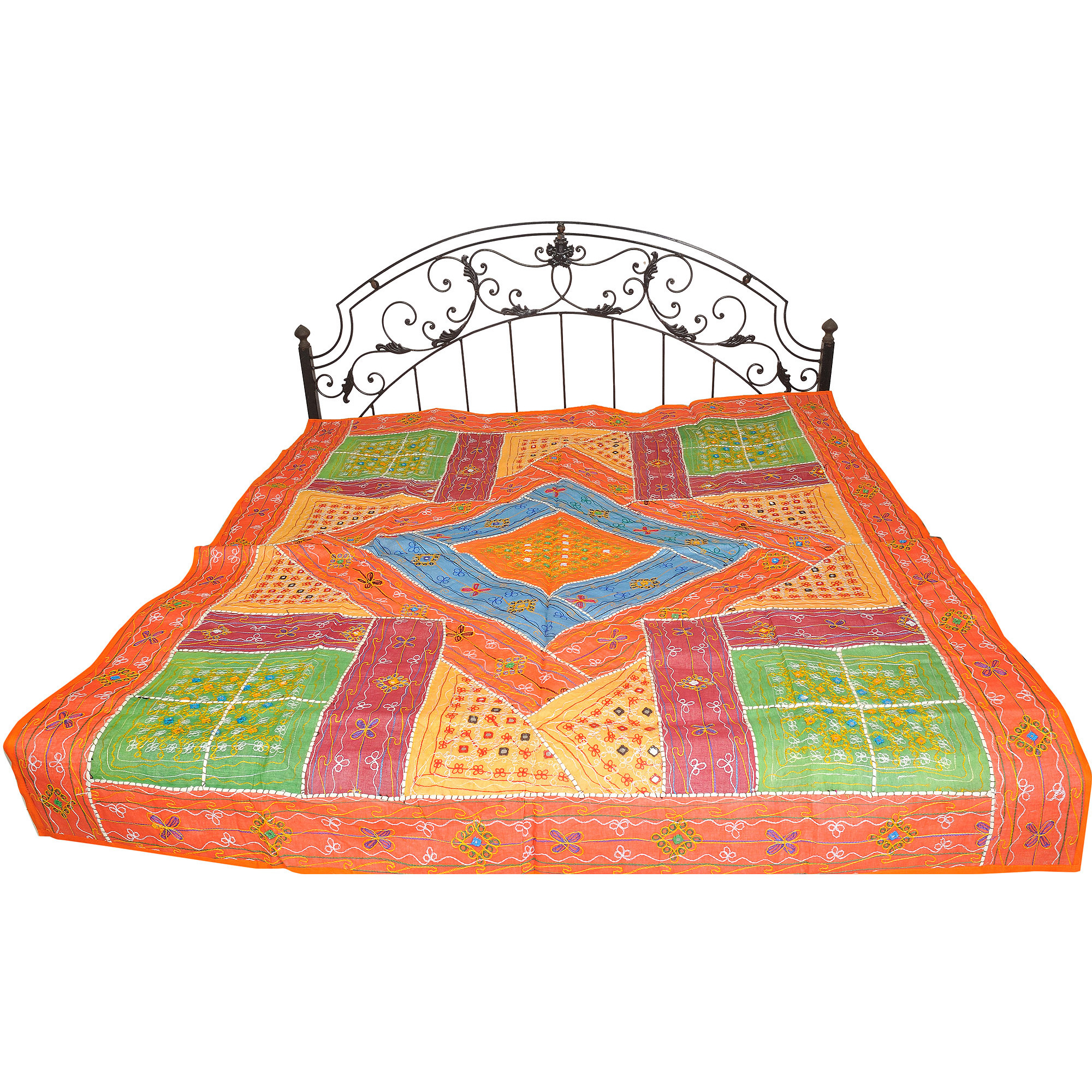 Multicolor Bedspread from Kutch with Patchwork and Embroidered Mirrors