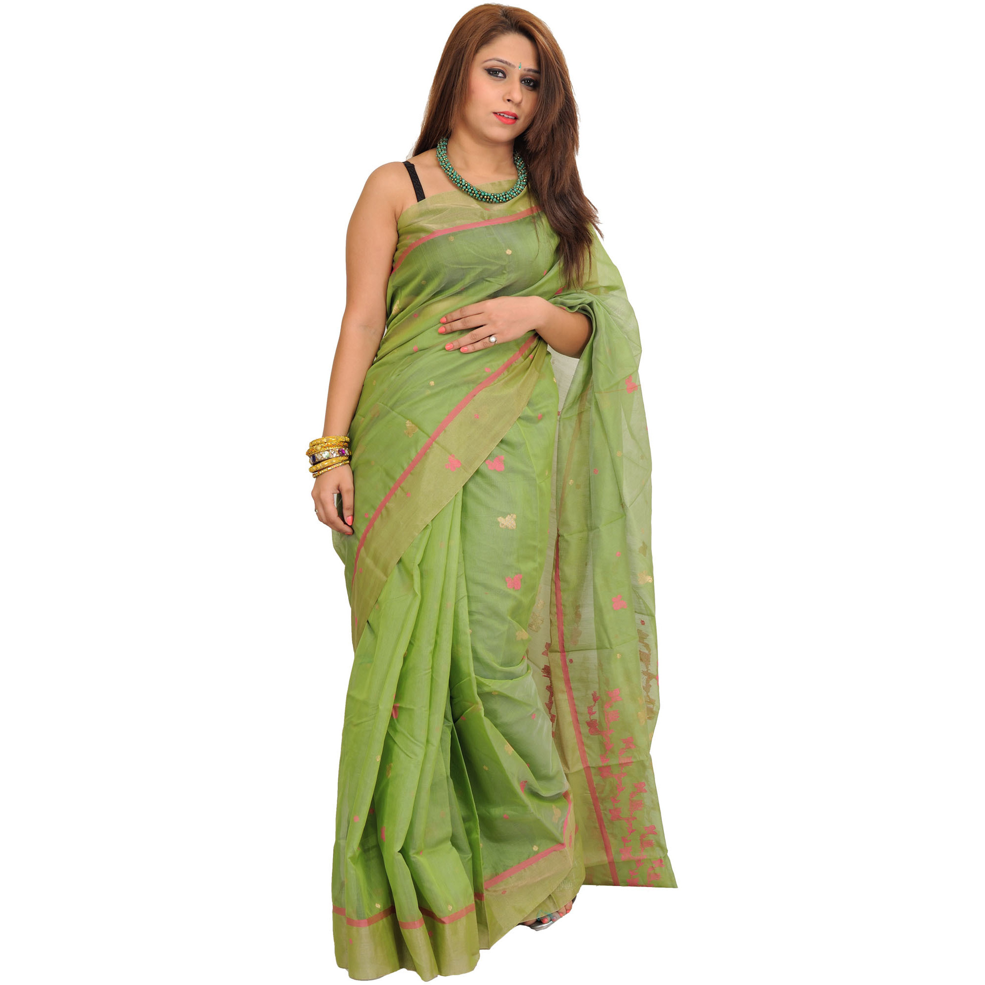 Tendril-Green Chanderi Sari with Woven Bootis
