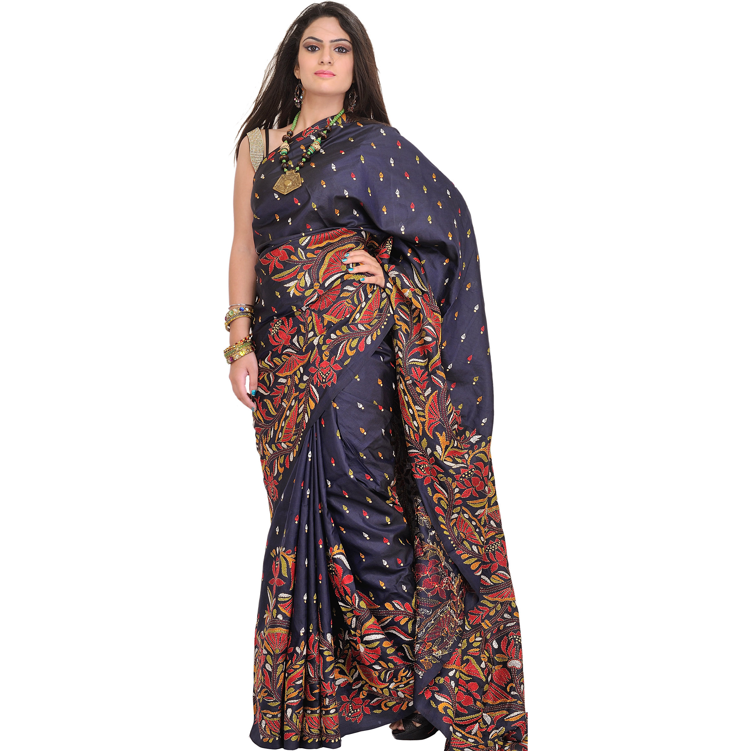 Nights-Blue Sari from Kolkata with Kantha Hand-Embroidered Lotuses