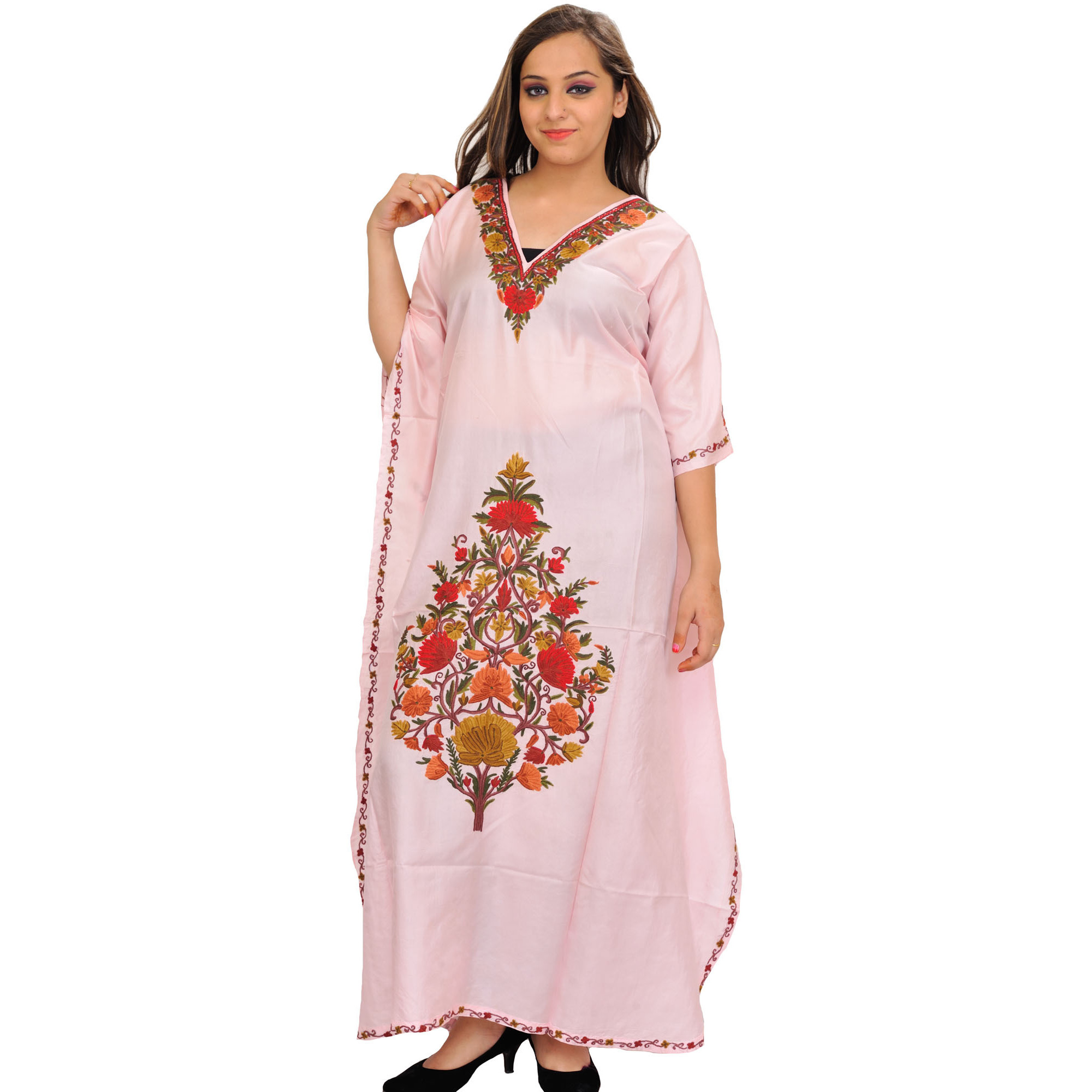 Strawberry-Cream Kaftan from Kashmir with Ari-Floral Embroidery by Hand