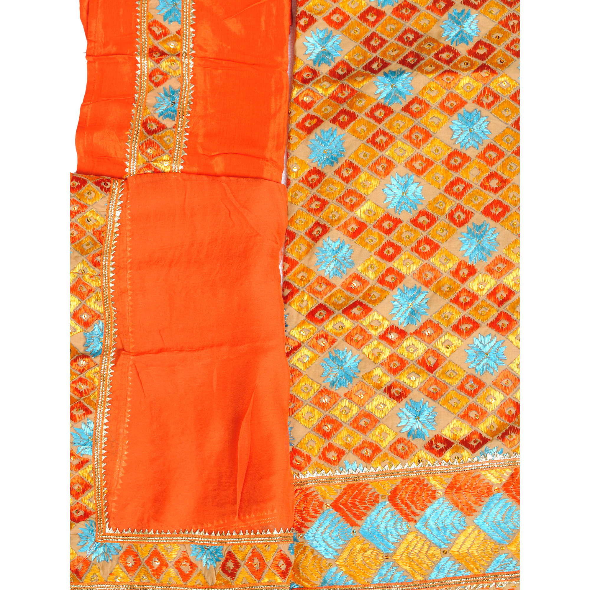 Beige and Orange Phulkari-Embroidered Salwar Kameez Fabric From Punjab with Sequins