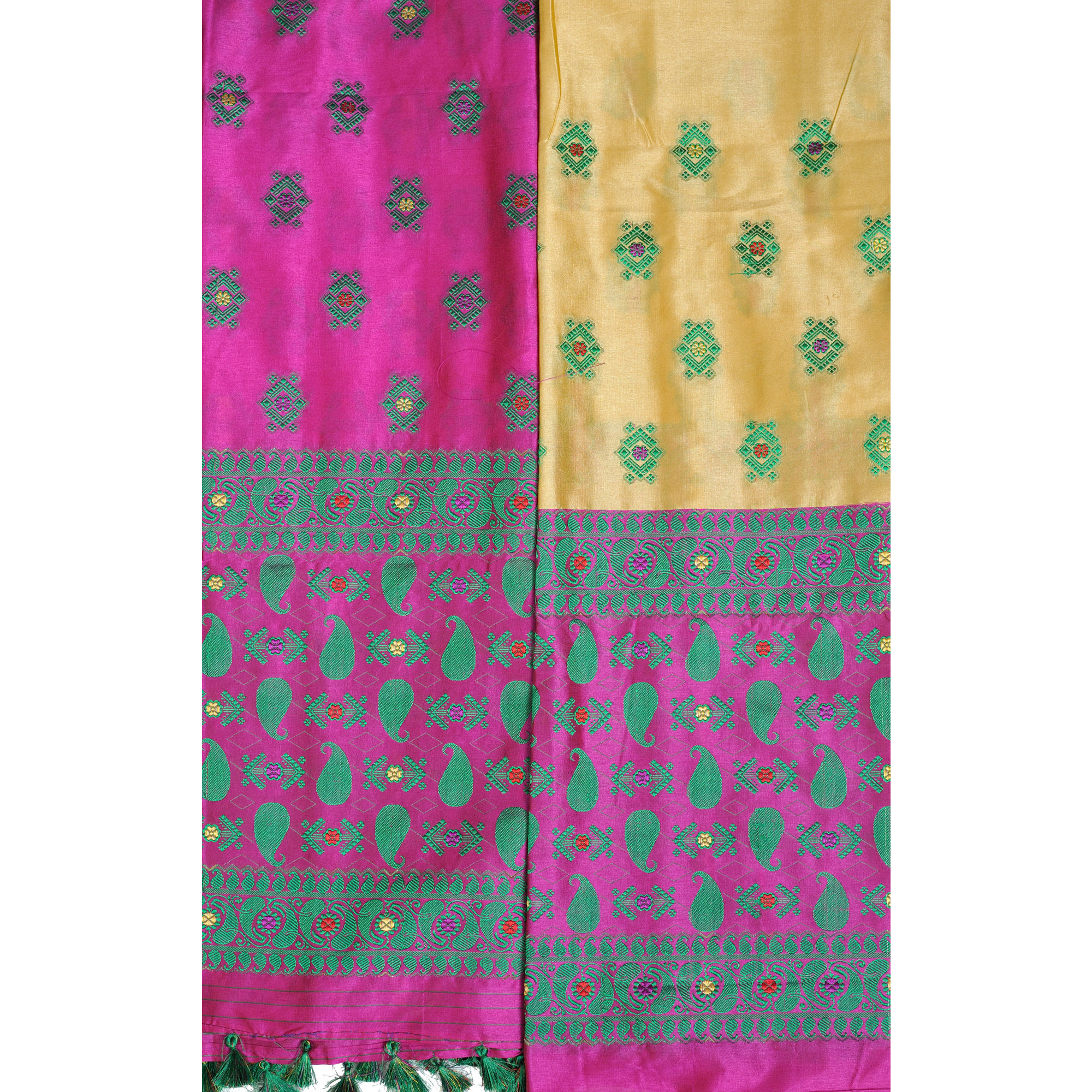 Italian-Straw and Rosebud Suit Fabric with Dupatta from Assam with Woven Bootis and Paisleys