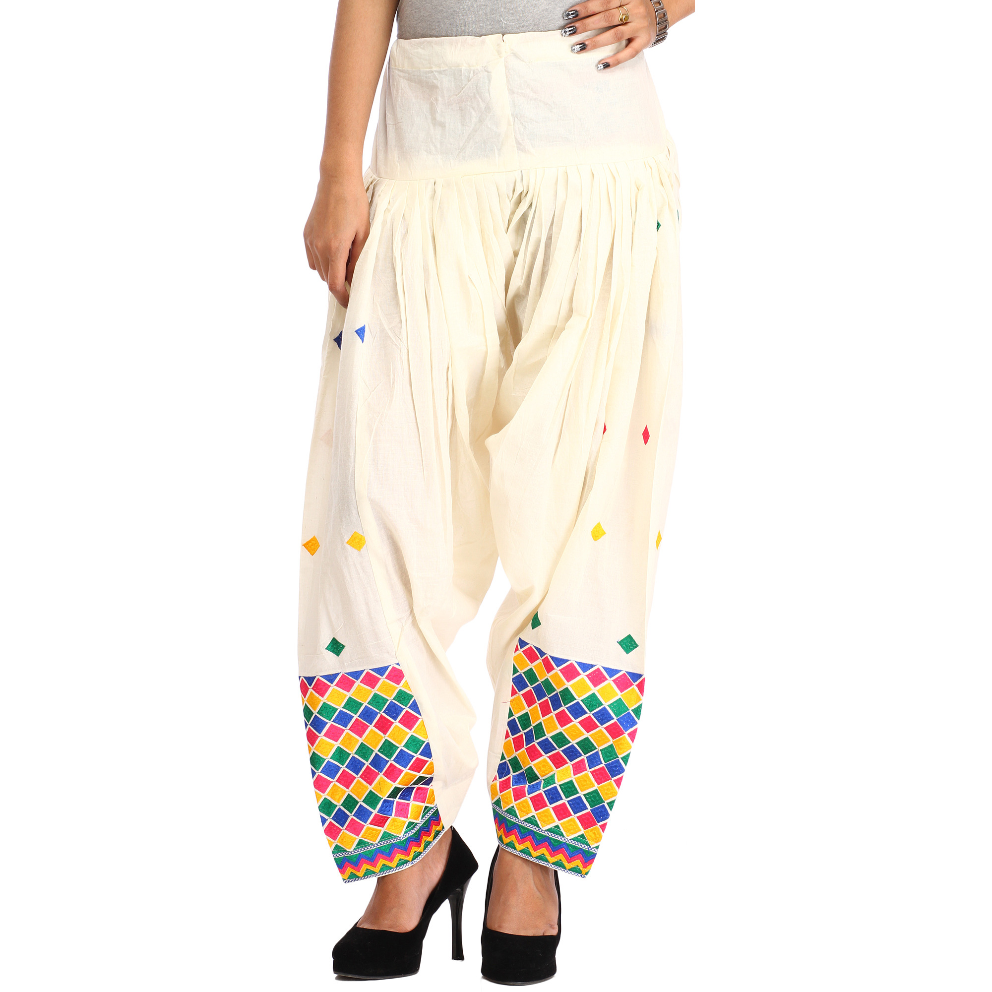 Off-White Patiala Salwar from Punjab with Phulkari Embroidery in Multicolor Thread