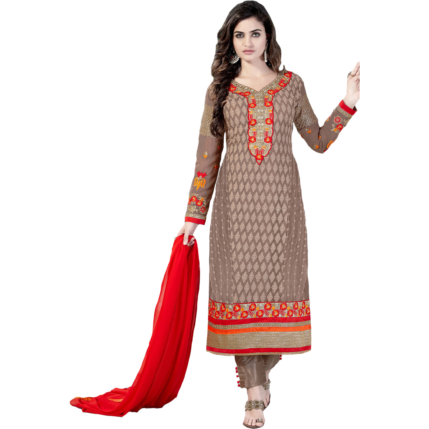Warm-Taupe Self Embroidered Long Parallel Salwar Suit with Floral Patch on Neck and Border