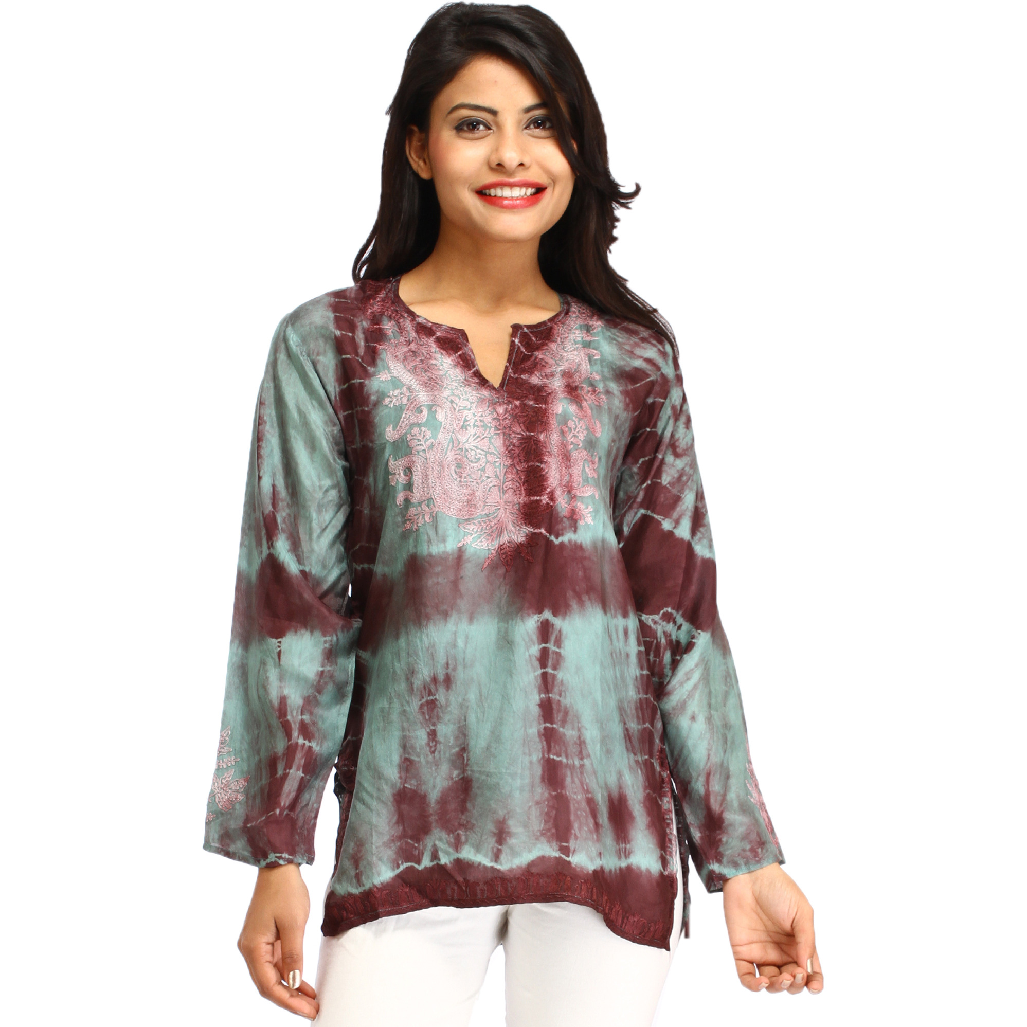 Surf-Blue Batik Dyed Kurti from Kashmir with Ari-Embroidery