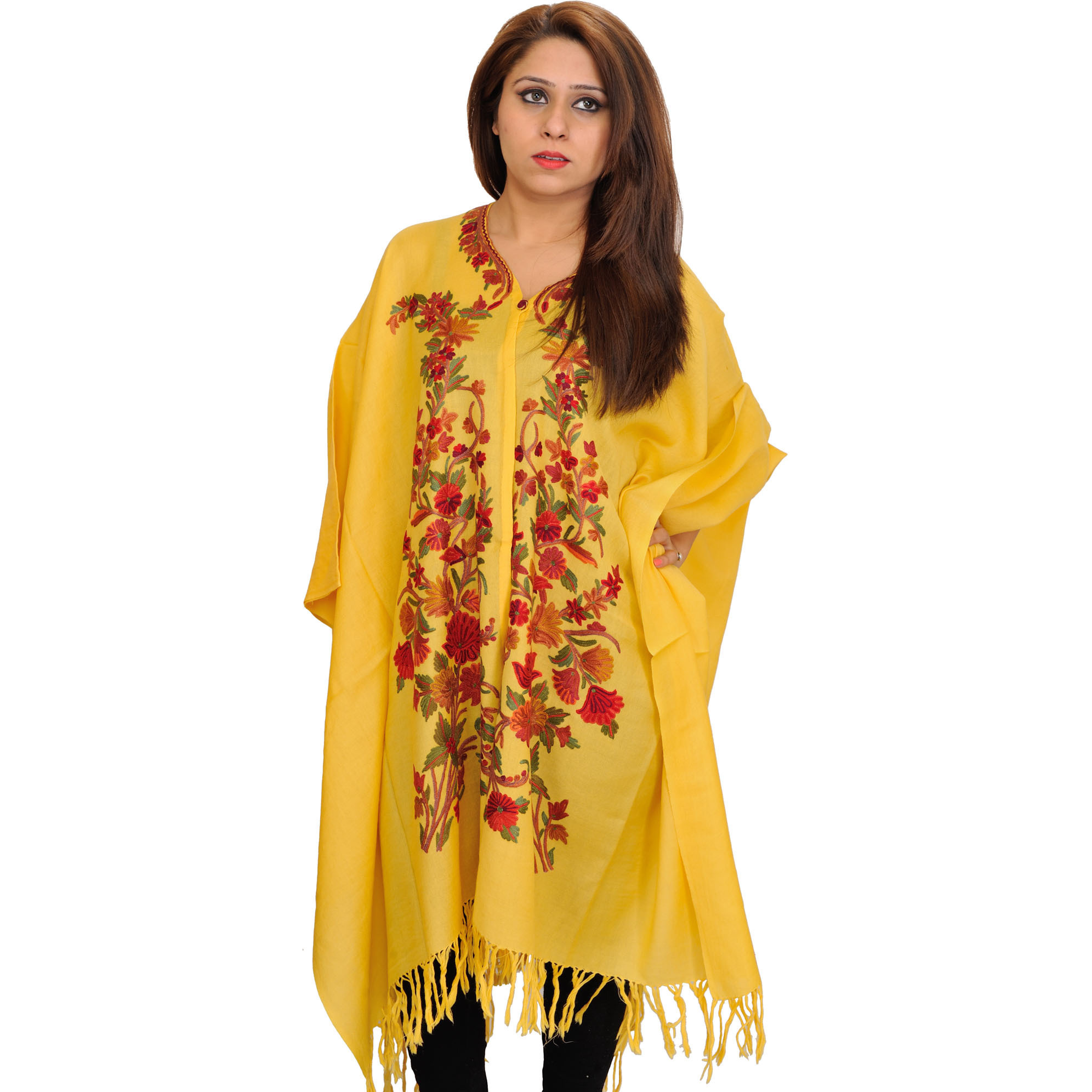 Yellow Cape from Kashmir with Floral Ari-Embroidery by Hand