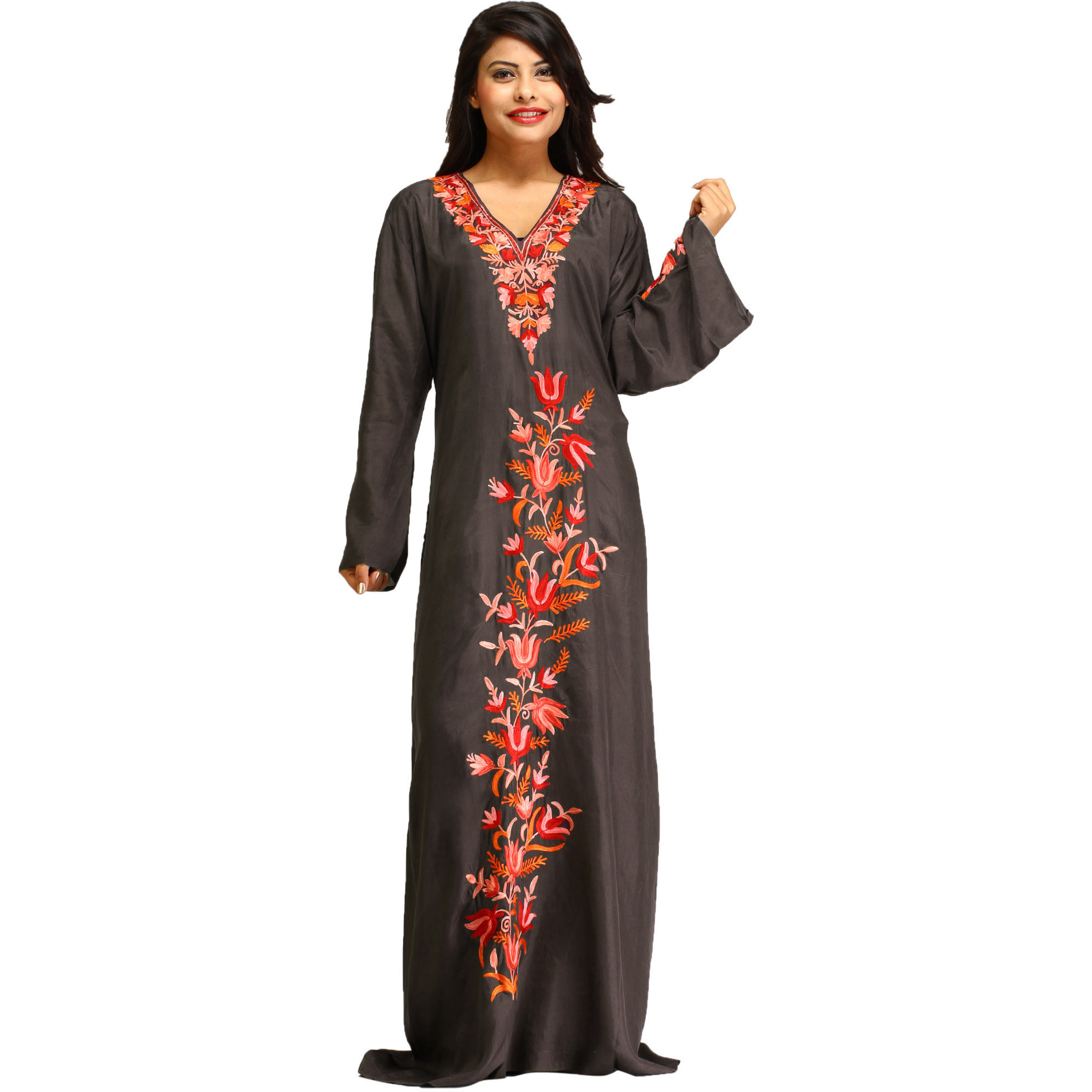 Rabbit-Gray Ari Floral Embroidered Gown from Kashmir
