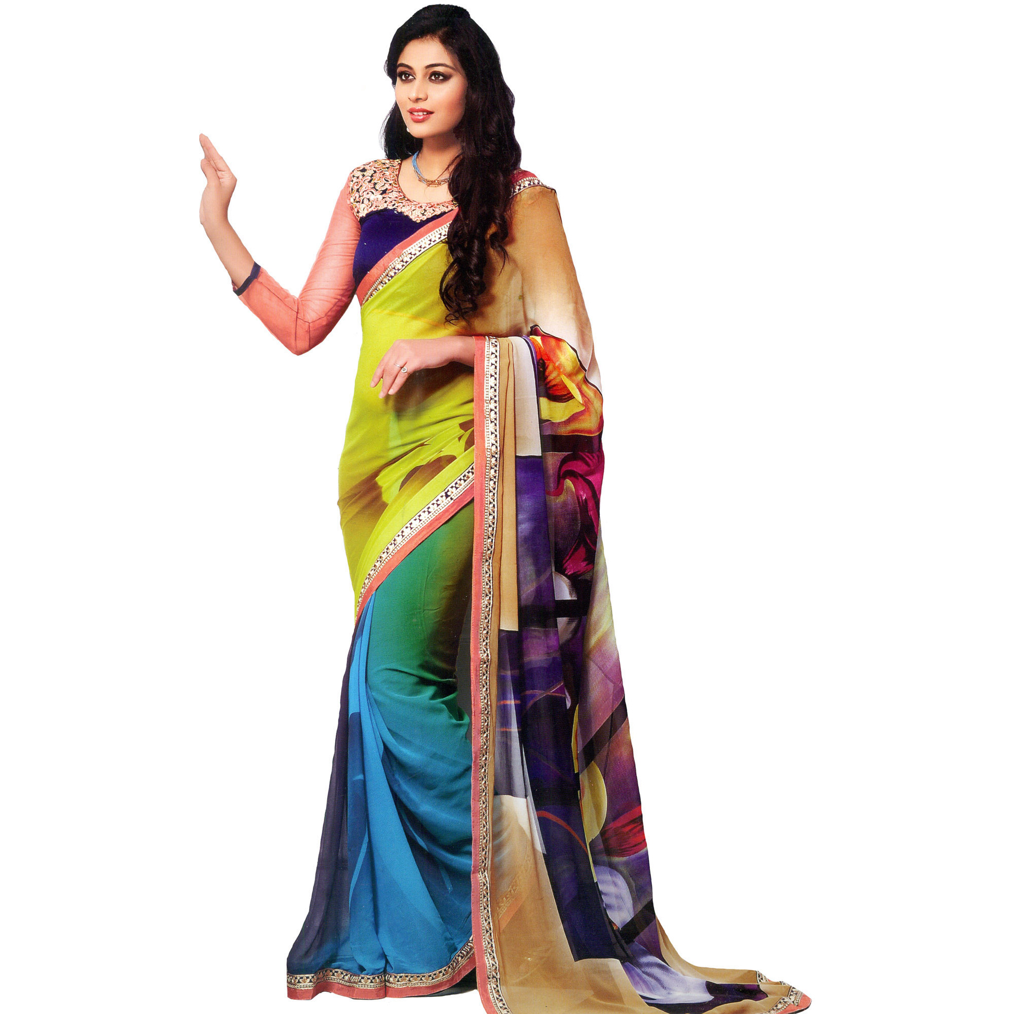 Multicolor Art-Deco Printed Sari with Embroidered Patch Border
