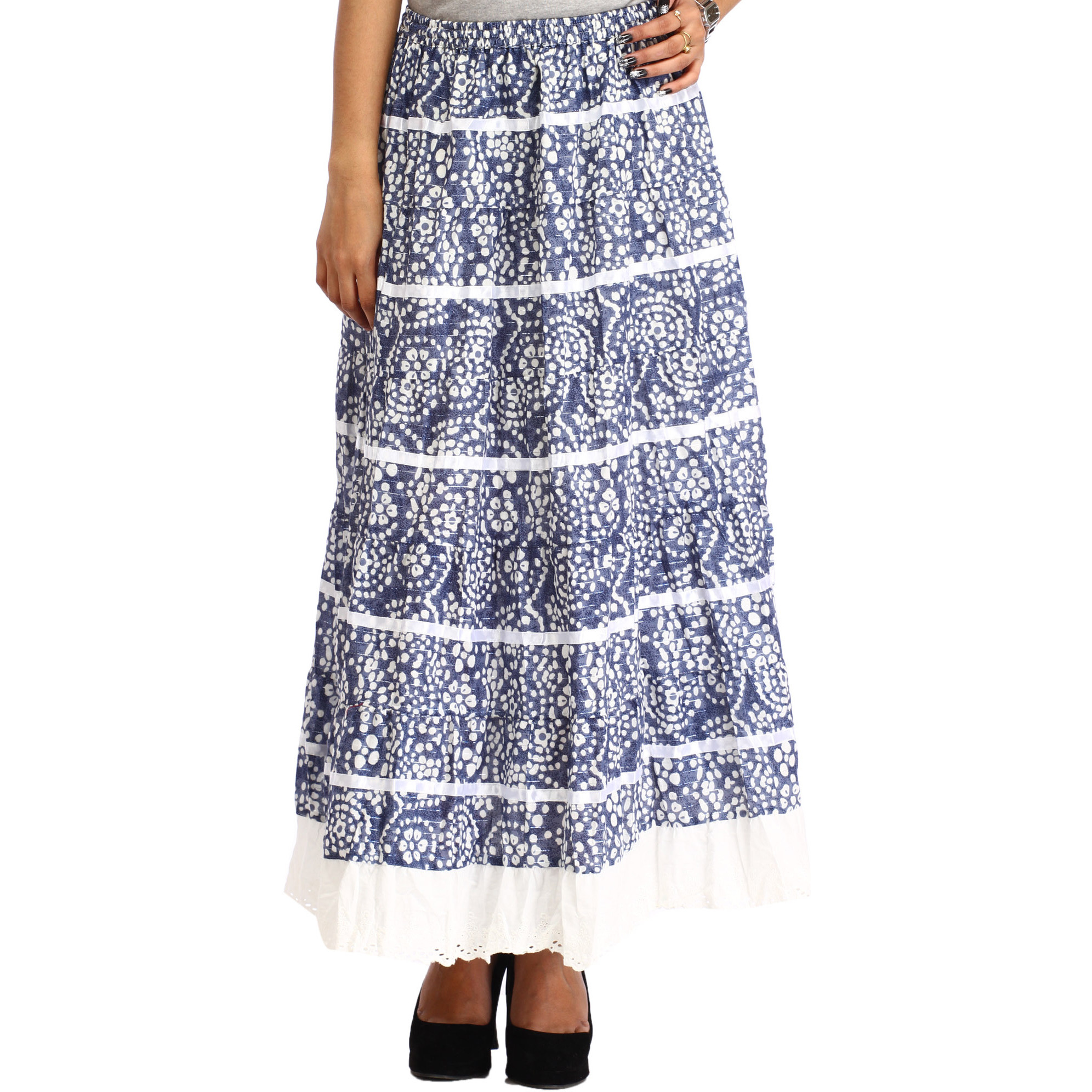 Moonlight-Blue Long Elastic Skirt with Floral Print and Cut-work on Border