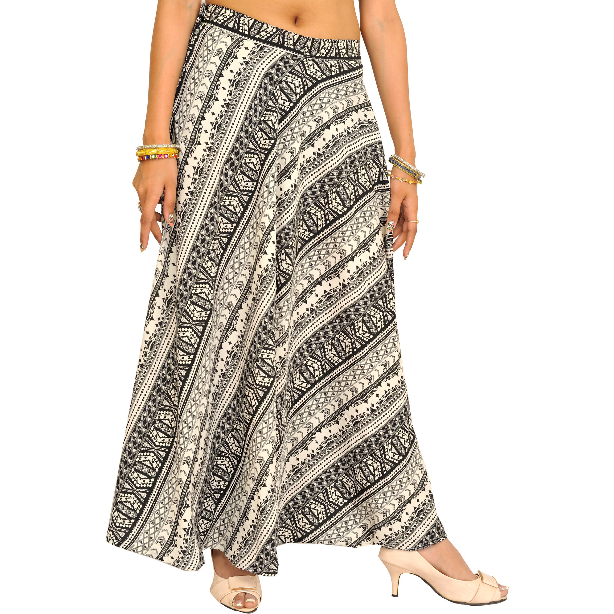 Black and White Printed Long Skirt
