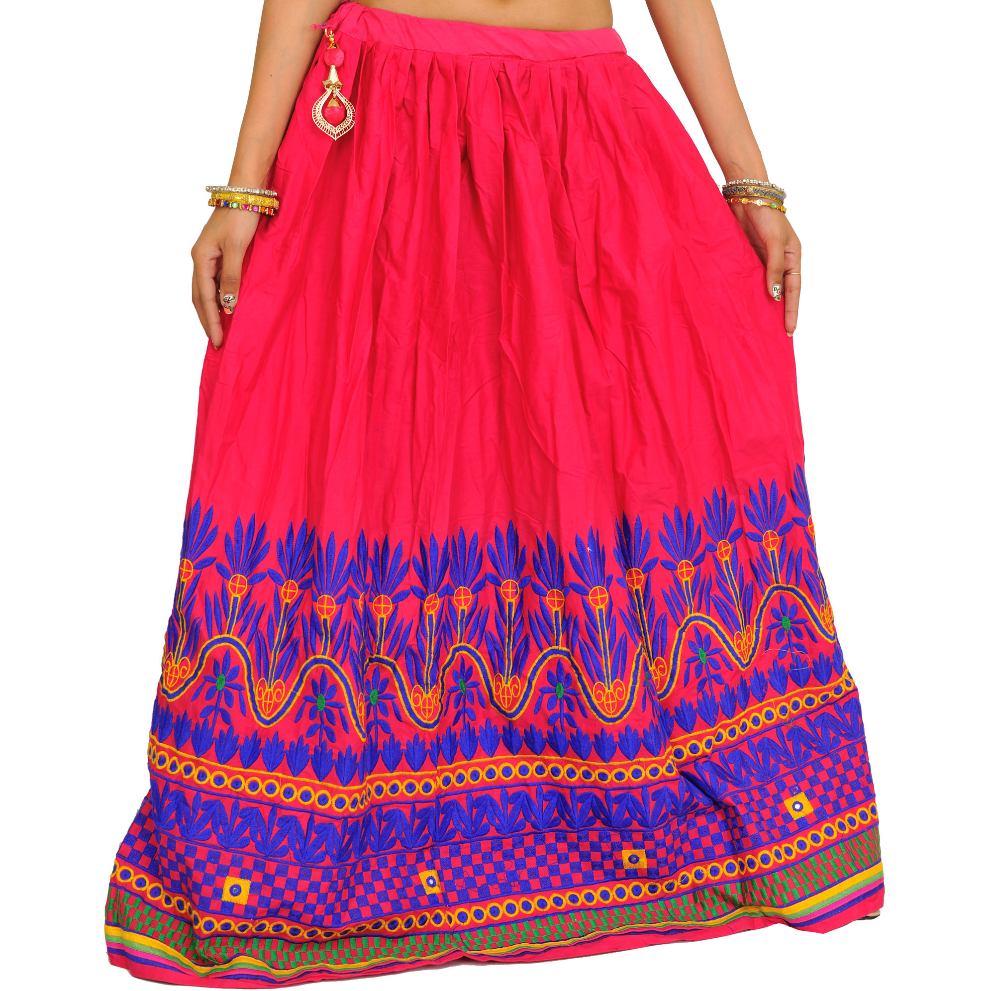 Raspberry-Sorbet Ghagra Skirt from Gujarat with Embroidery on Border