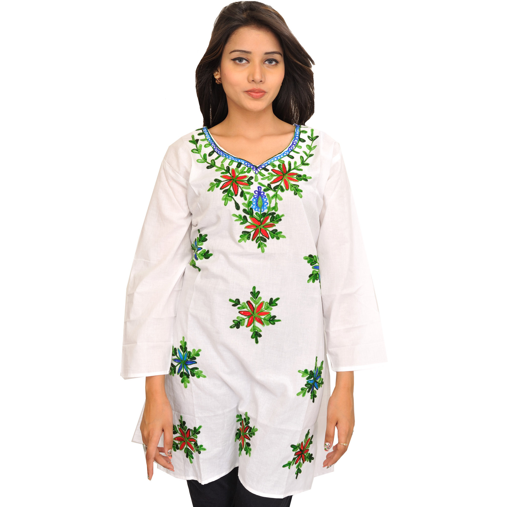 Bright-White Kurti from Kashmir with Ari Embroidered Flowers