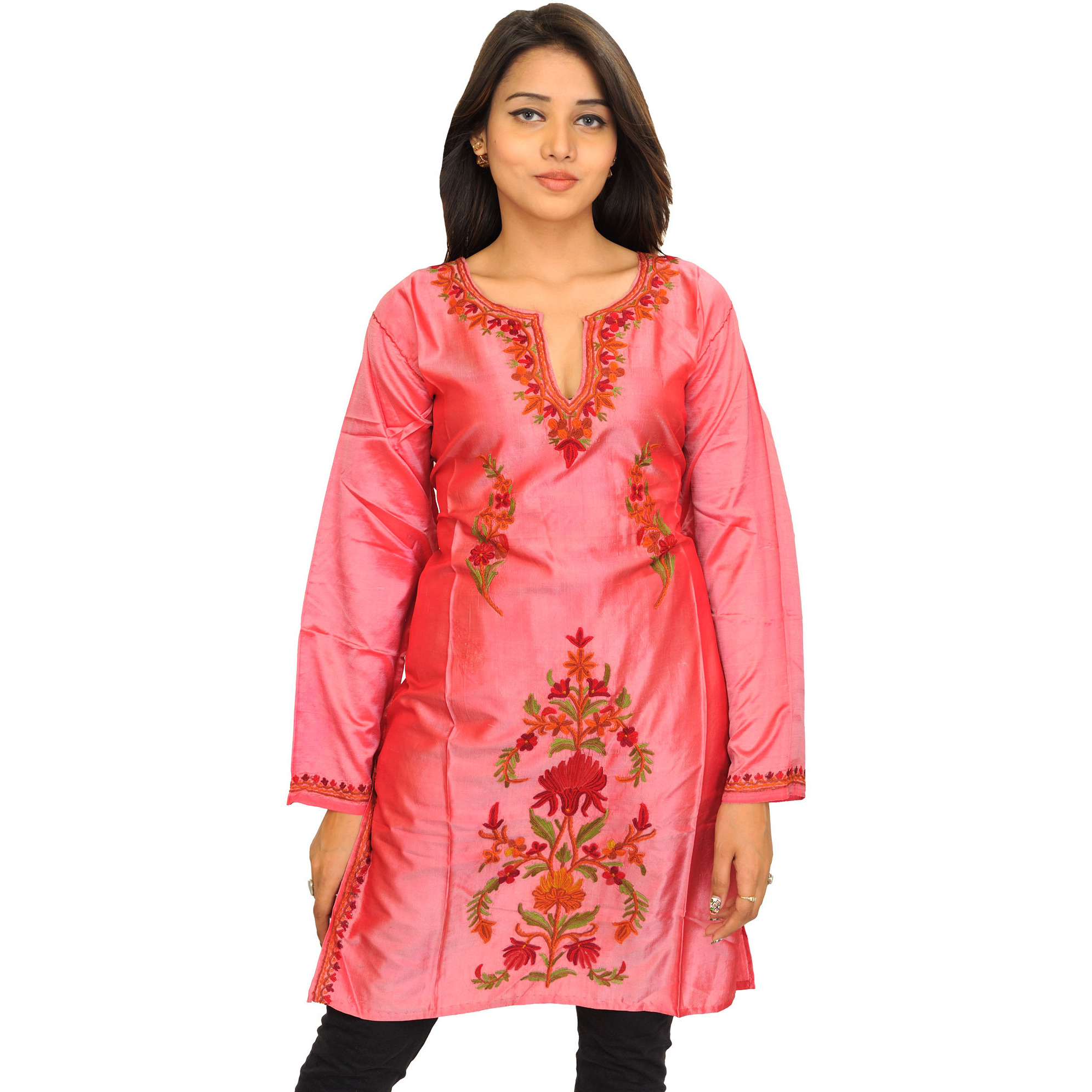 Strawberry-Ice Kurti from Kashmir with Ari Embroidery by Hand