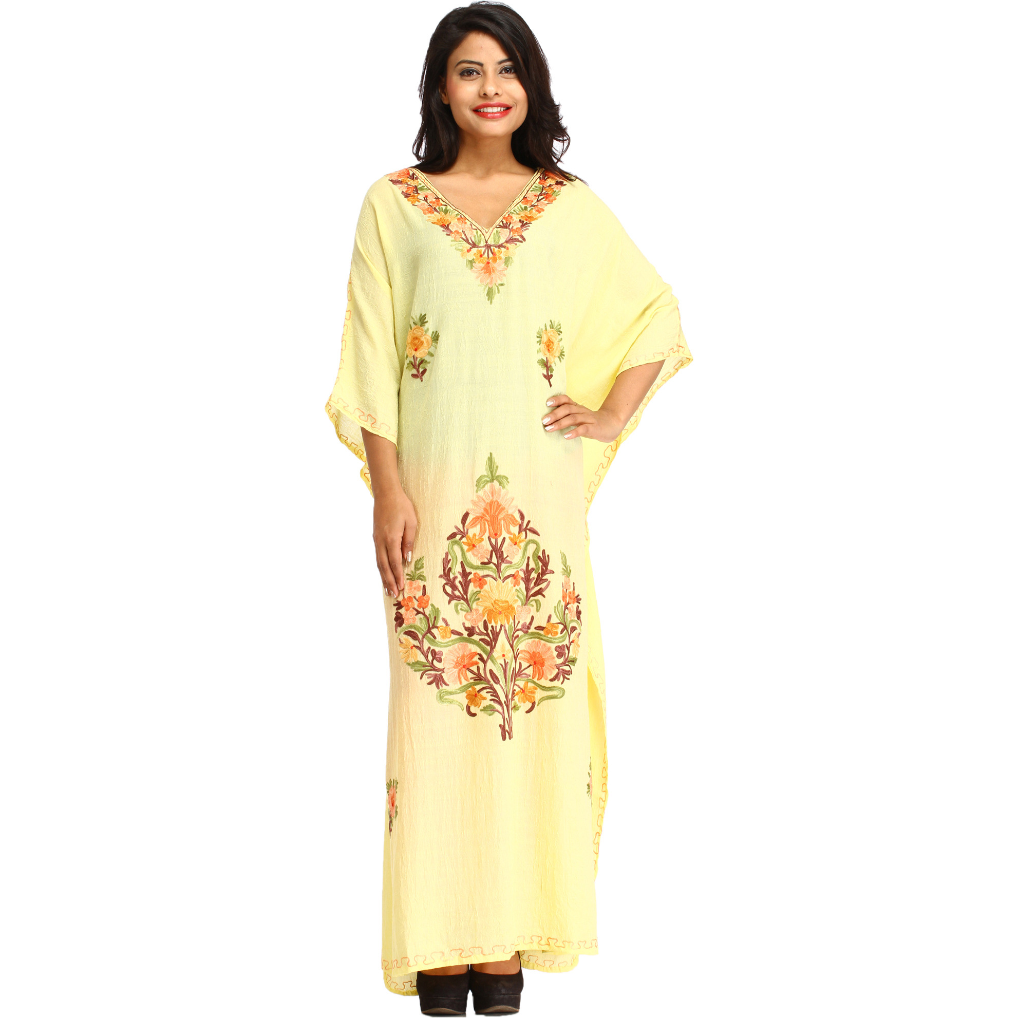 Wax-Yellow Kaftan from Kashmir with Ari-Embroidery