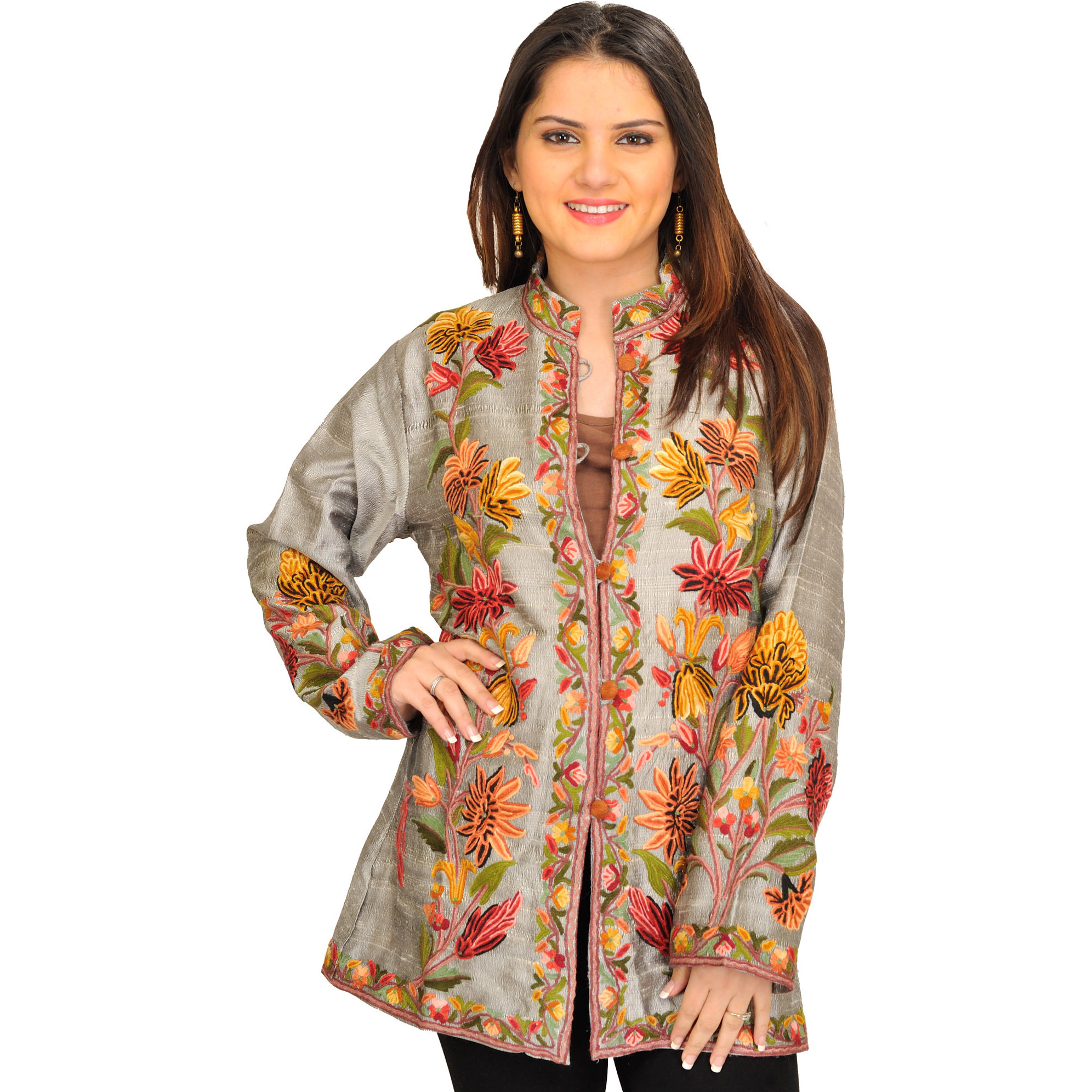 Silver Jacket from Kashmir with Ari Floral-Embroidery