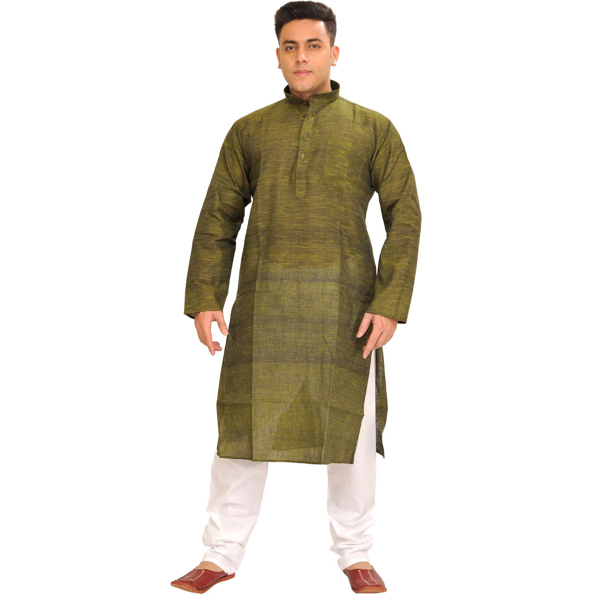 Khadi Kurta Pajama Set with Thread Weave