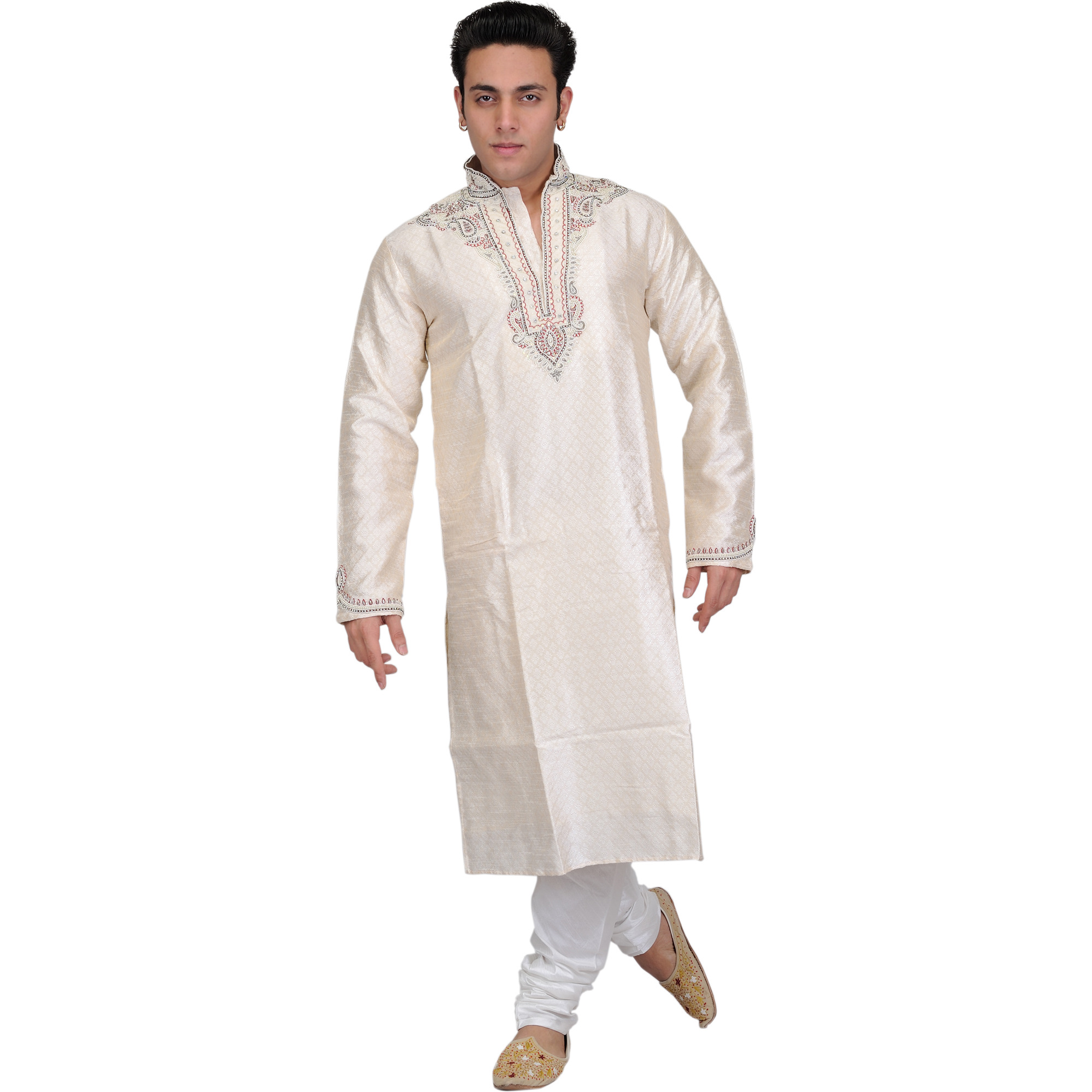 Ivory Self-Weave Wedding Kurta Pajama Set with Hand-Embroidered Beads on Neck