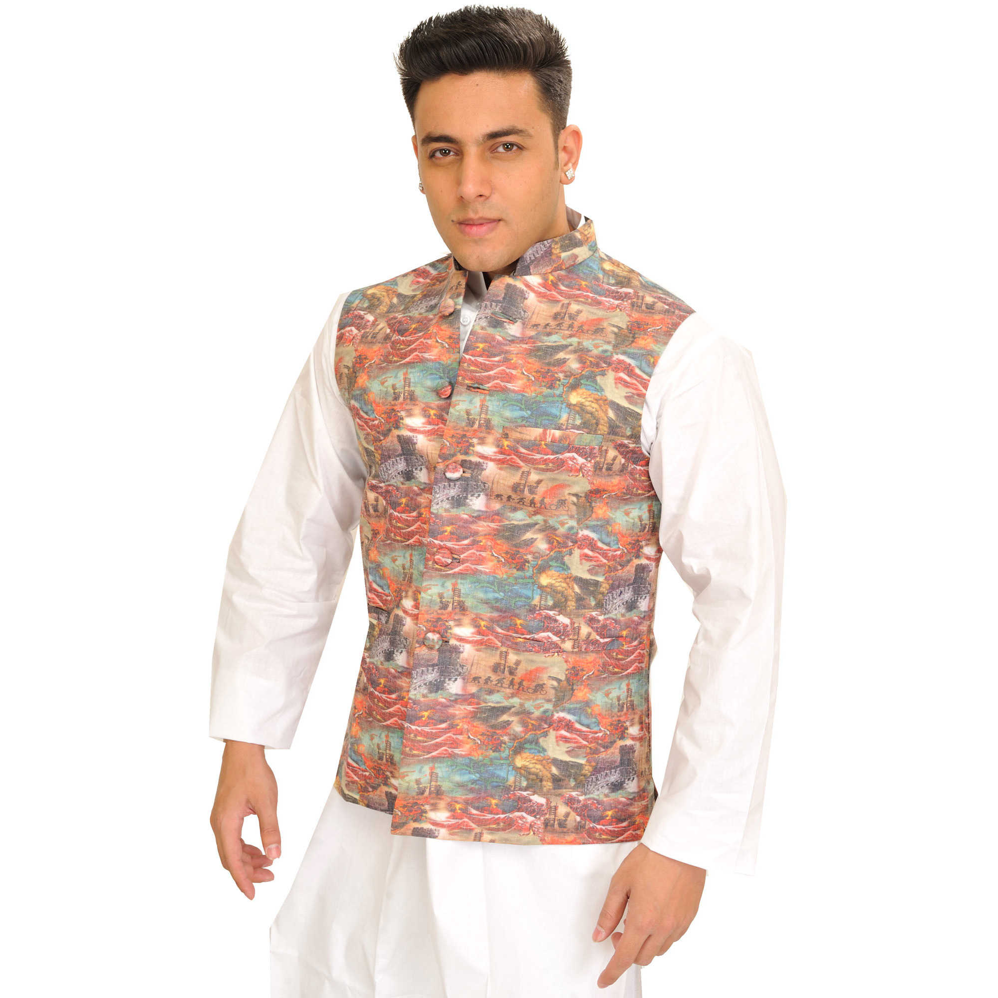 Multicolor Waistcoat with Digital Printed Landscape