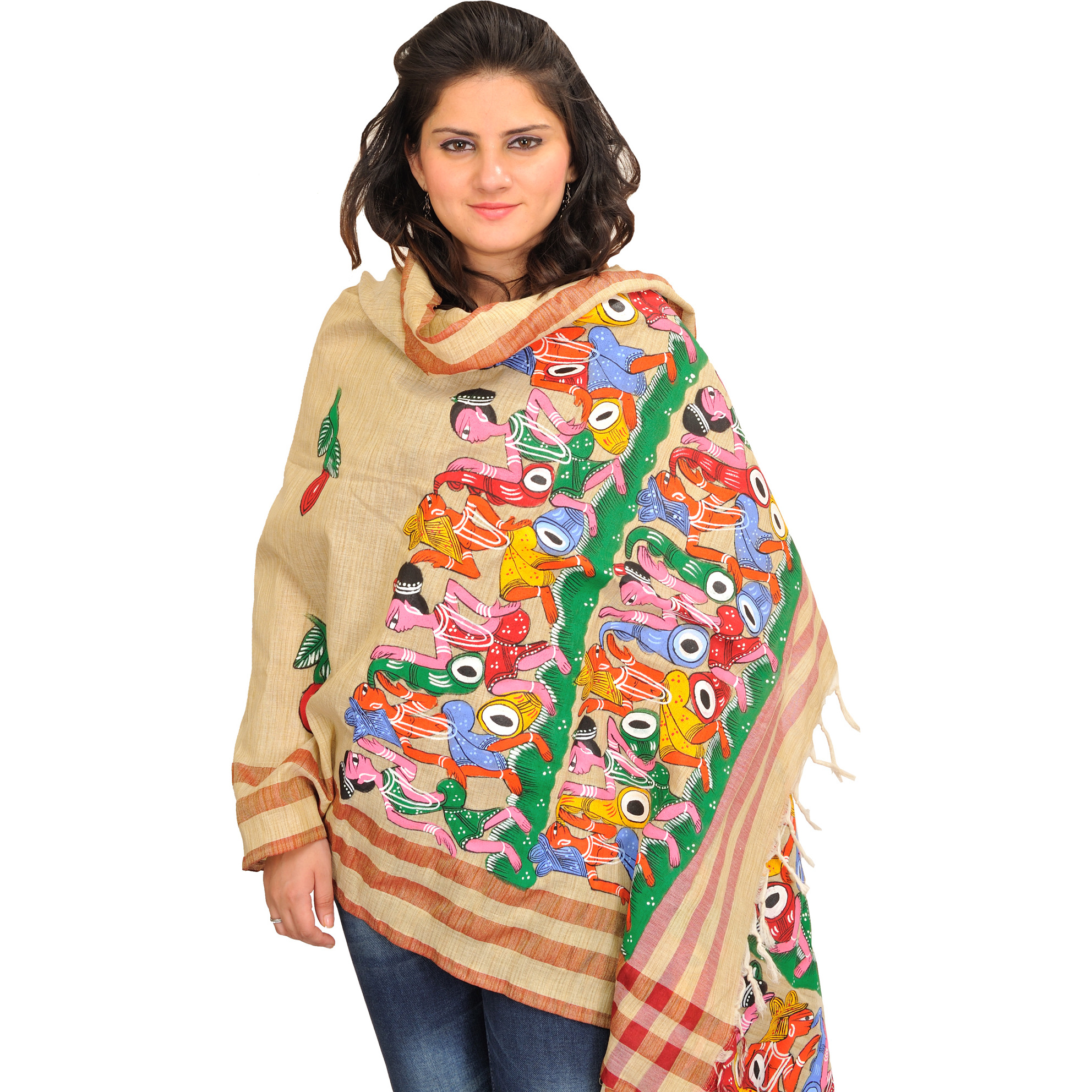 Almond-Oil Dupatta from Bengal with Painted Folk Motifs