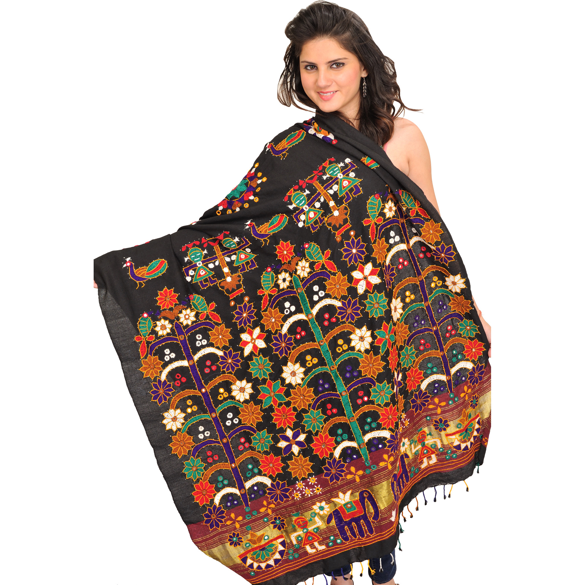 Jet-Black Embroidered Shawl from Kutch with Mirrors