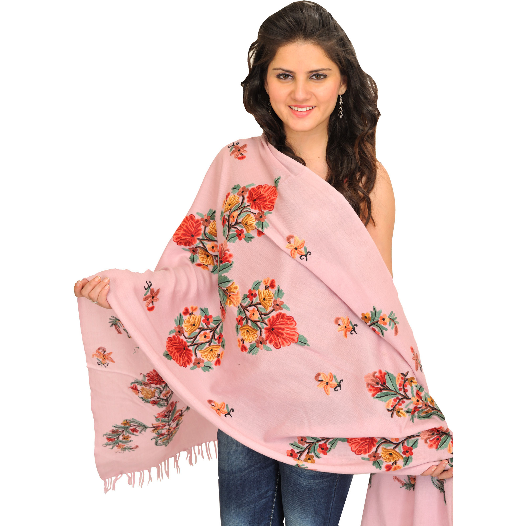 Stole from Kashmir with Ari Floral-Embroidery by Hand