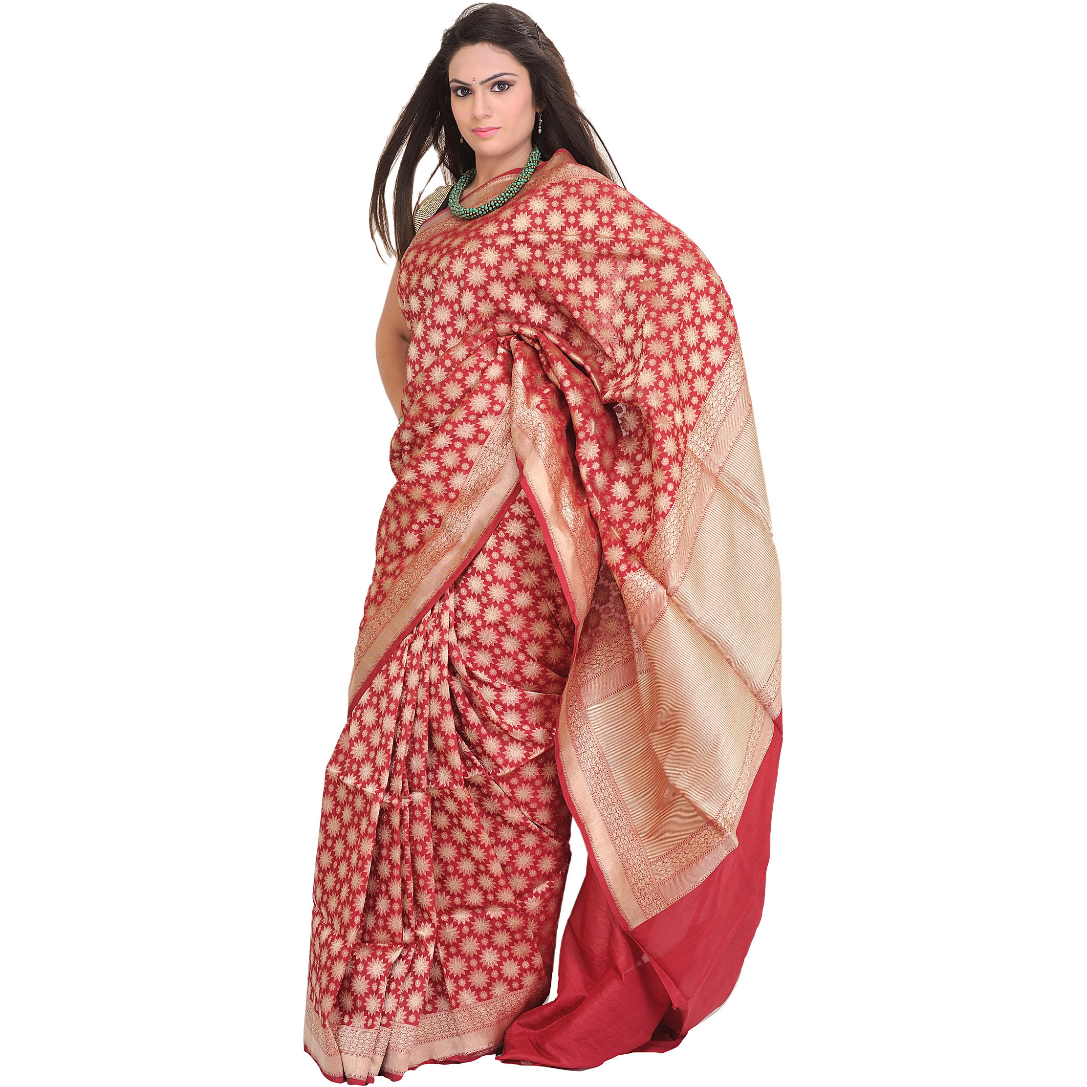 Earth-Red Sari from Banaras with Zari-Woven Stars and Brocade Aanchal