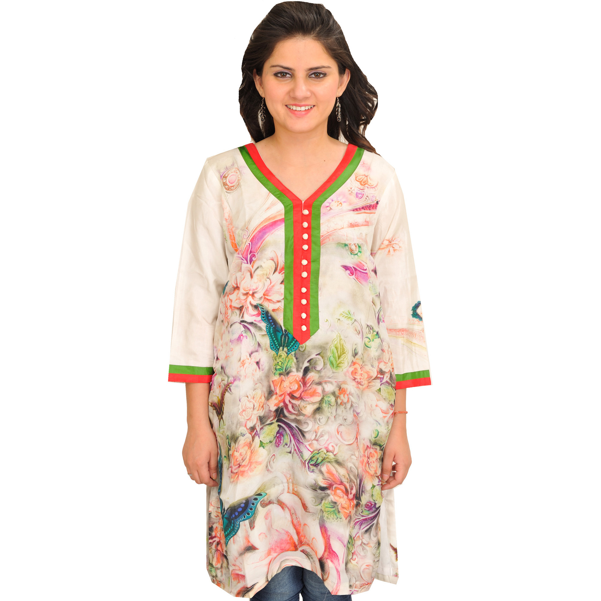 Off White Kurti with Digital Print