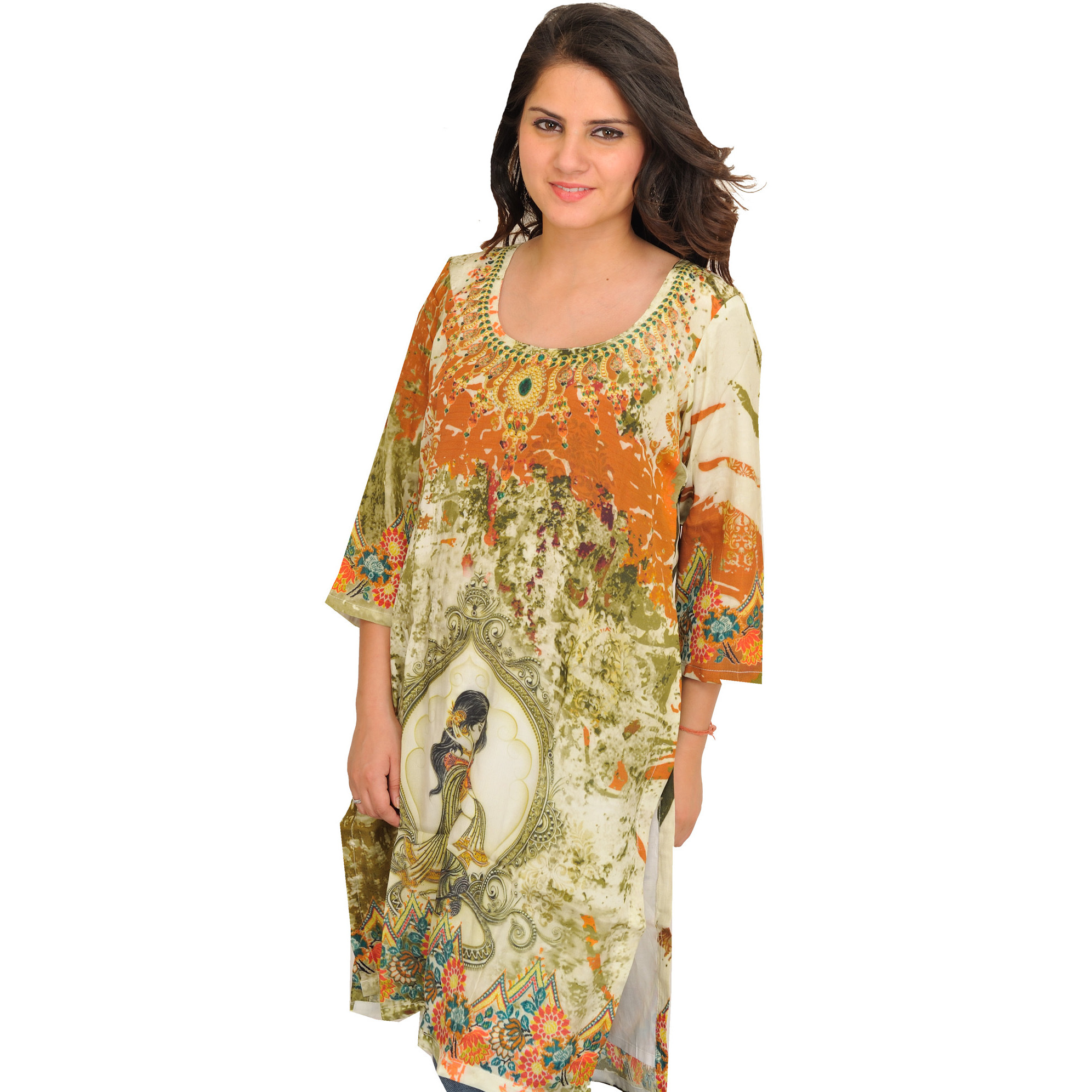 Mehendi Green Kurti with Digital Printed Apsara and Jewelry Accents