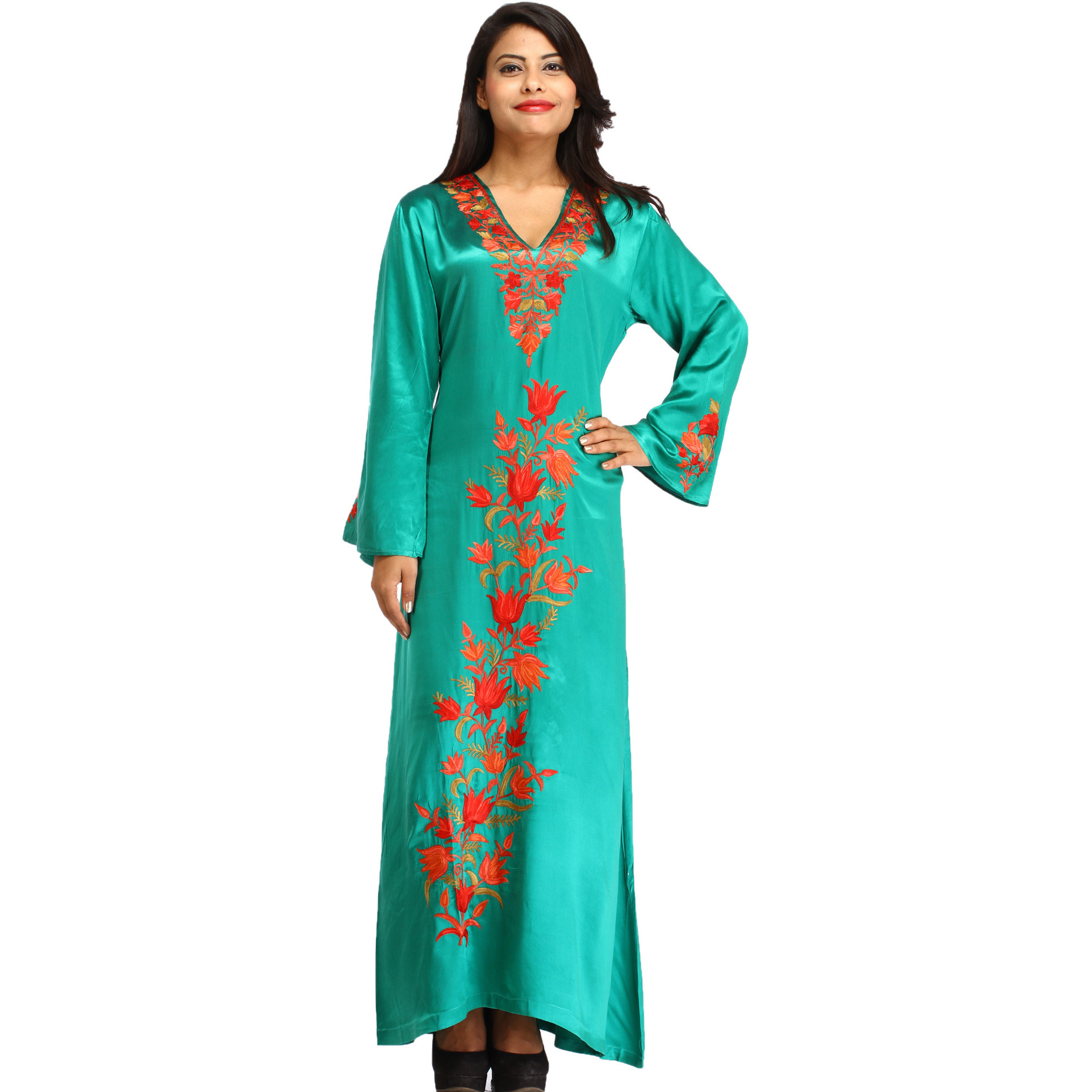 Sea Green Ankle-Length Gown From Kashmir With Ari-Embroidery