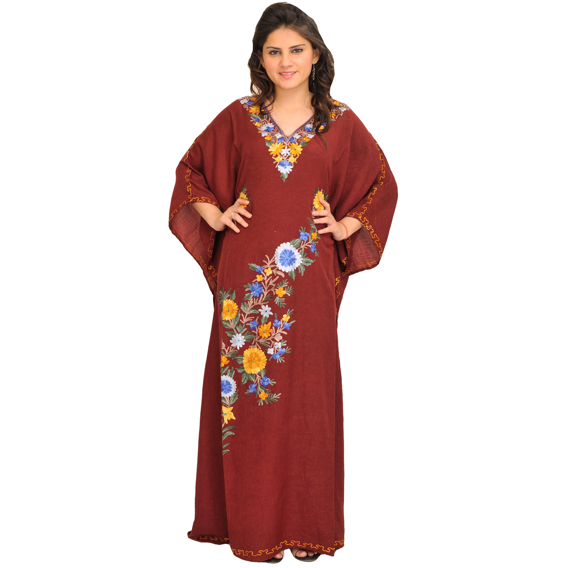 Tibetan Red Long Kaftan With Ari Embroidery