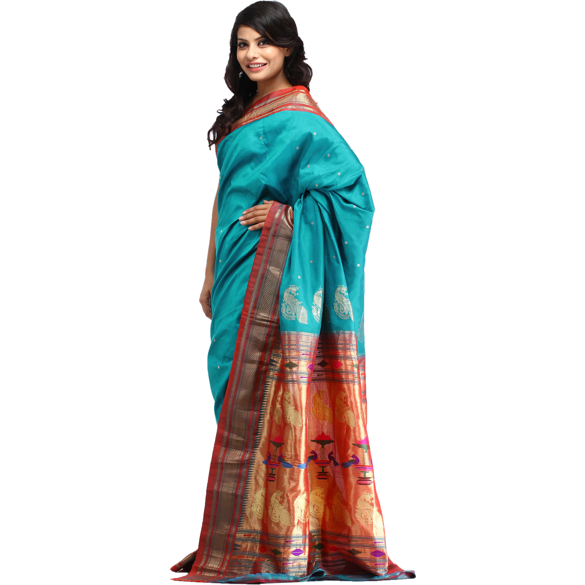 Viridian-Green Paithani Sari with Hand-woven Peacocks on Pallu