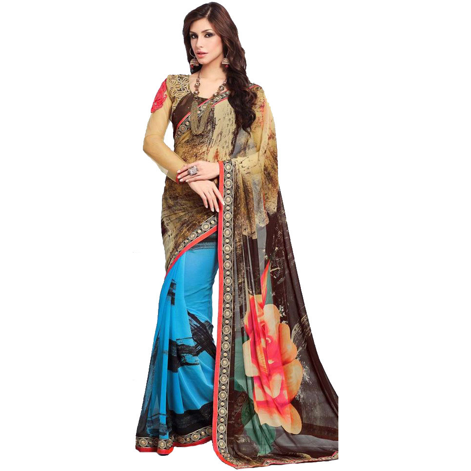 Multicolored Floral Printed Sari with Embroidered Patch Border