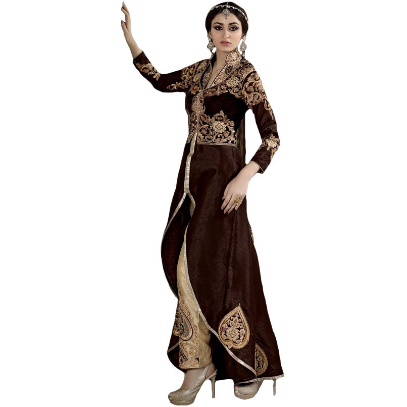 Chocolate and Coccon Designer Parallel Salwar Suit with Zari-Embroidered Patches and Bolero Jacket