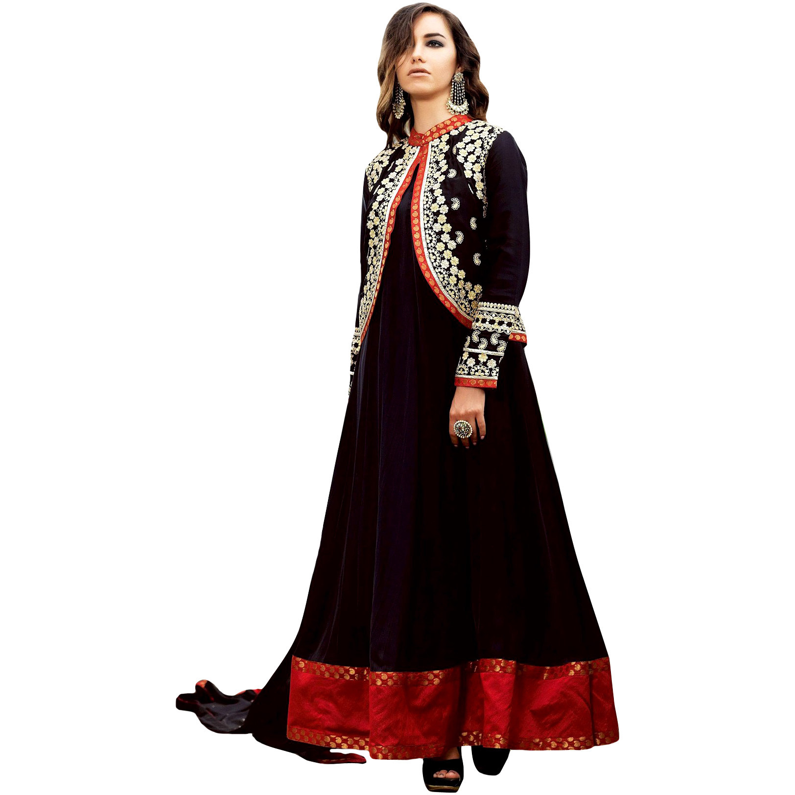 Phantom-Black Plain Anarkali Suit with Floral-Embroidered Bolero Jacket