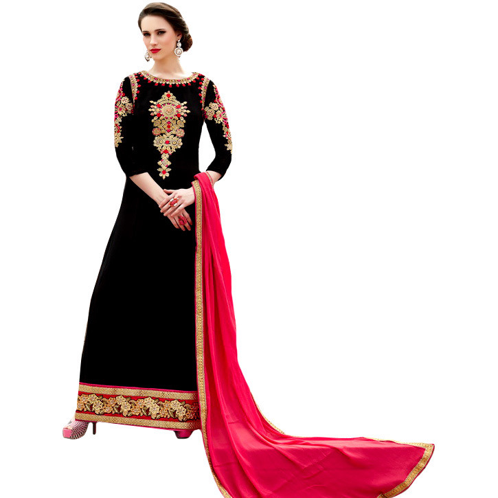 Jet-Black Designer Floor Length Choodidaar Kameez Suit with Floral Embroidery in Zari Thread
