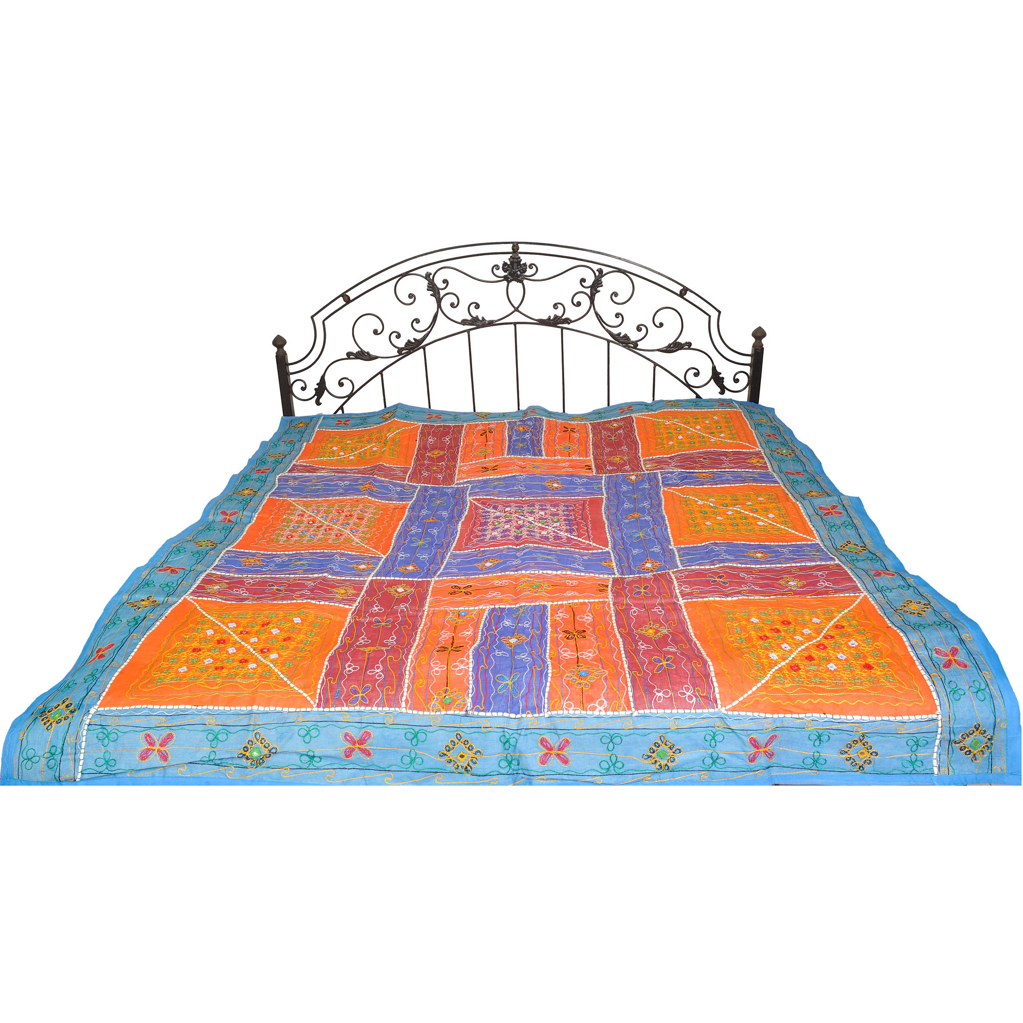 Multicolor Embroidered Bedspread from Kutch with Patchwork and Mirrors