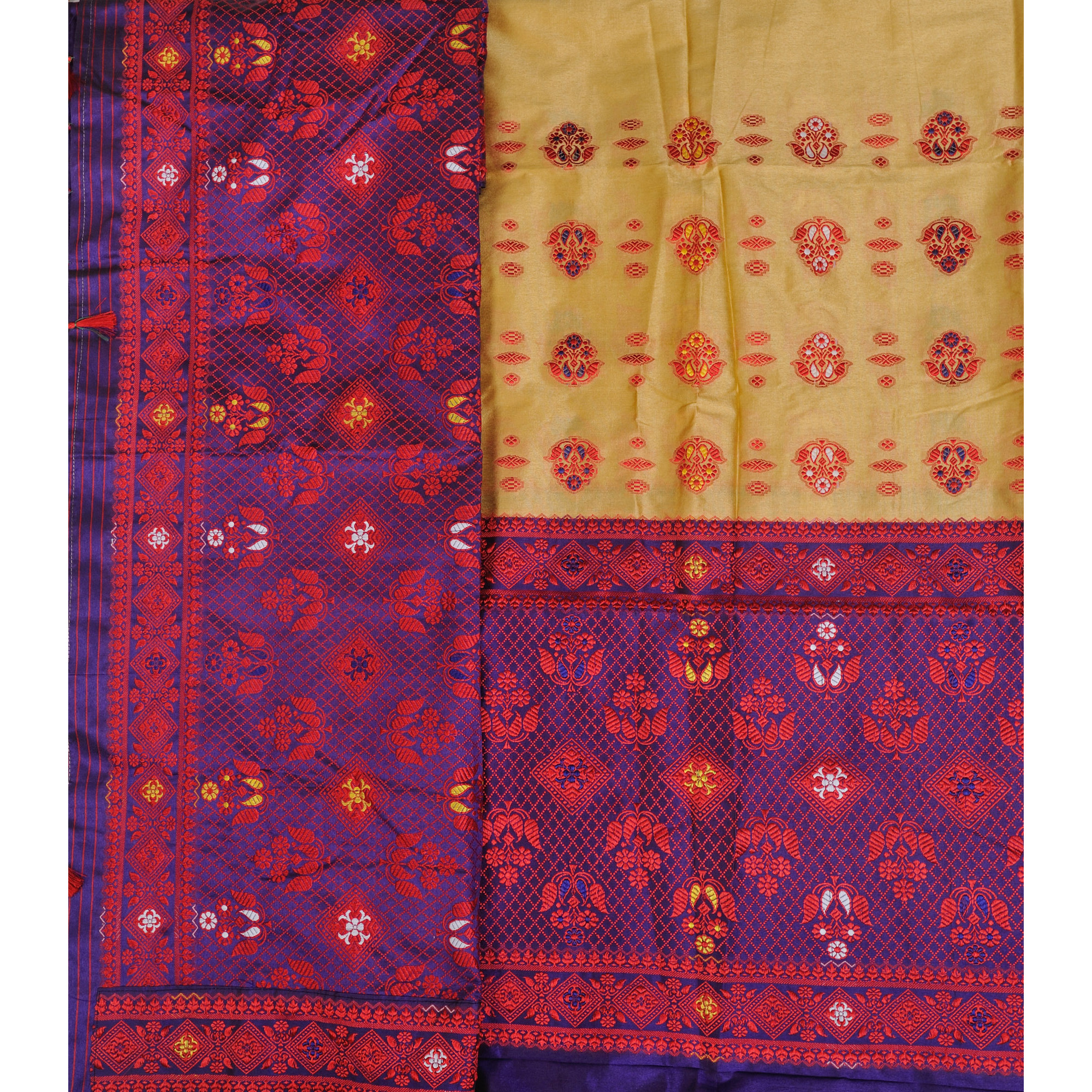 Italian-Straw and Purple Suit Fabric with Dupatta from Assam with Woven Motifs