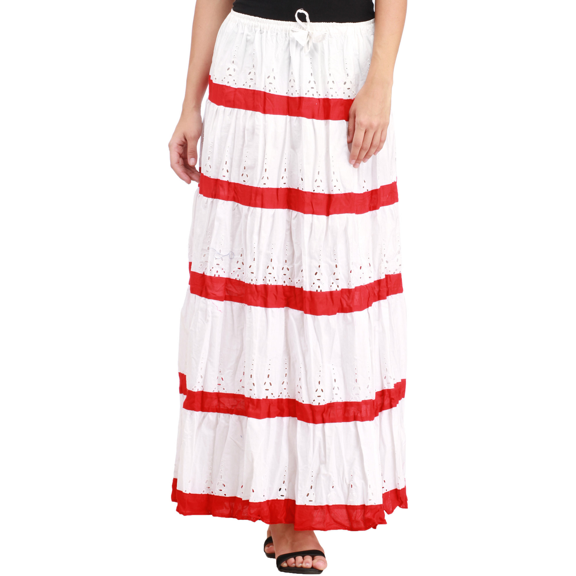 Bright-White Striped Long Skirt with Crochet and Elastic Waist