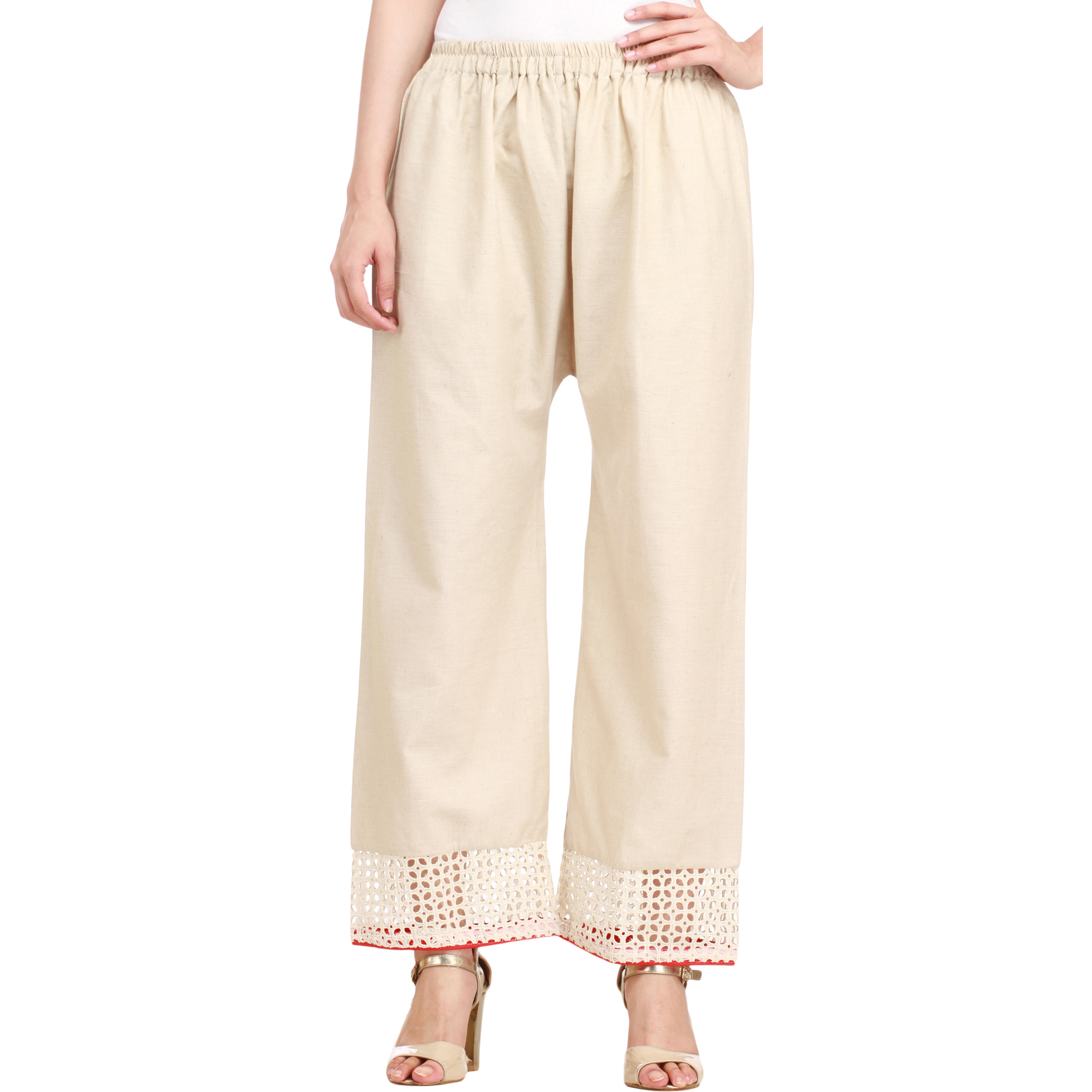 Whitecap-Gray Khadi Trousers with Cutwork on Border