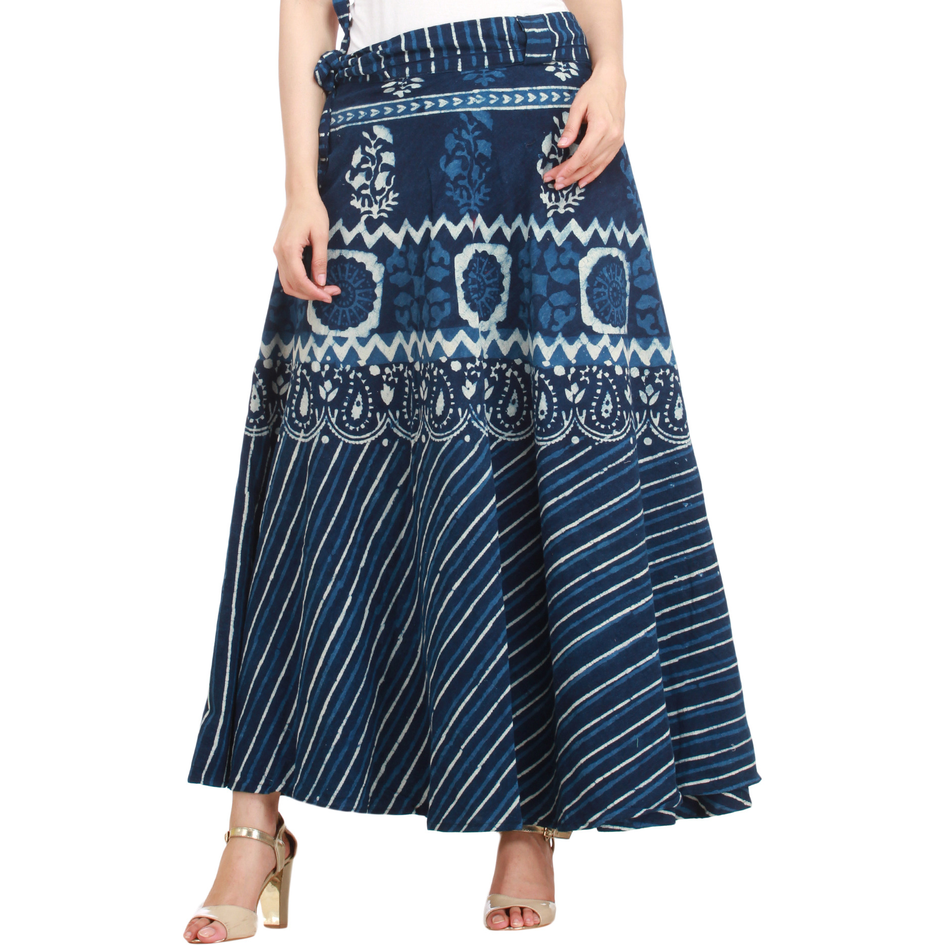 Medieval-Blue Block Printed Wrap-Around Skirt from Pilkhuwa