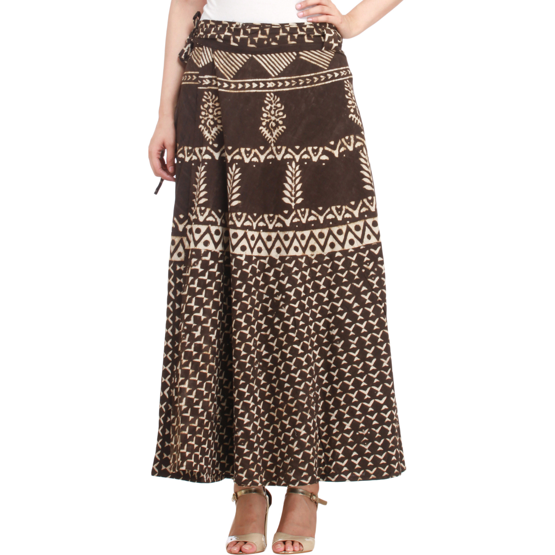 Coffee-Bean Wrap-Around Long Skirt from Pilkhuwa with Bagdoo Print